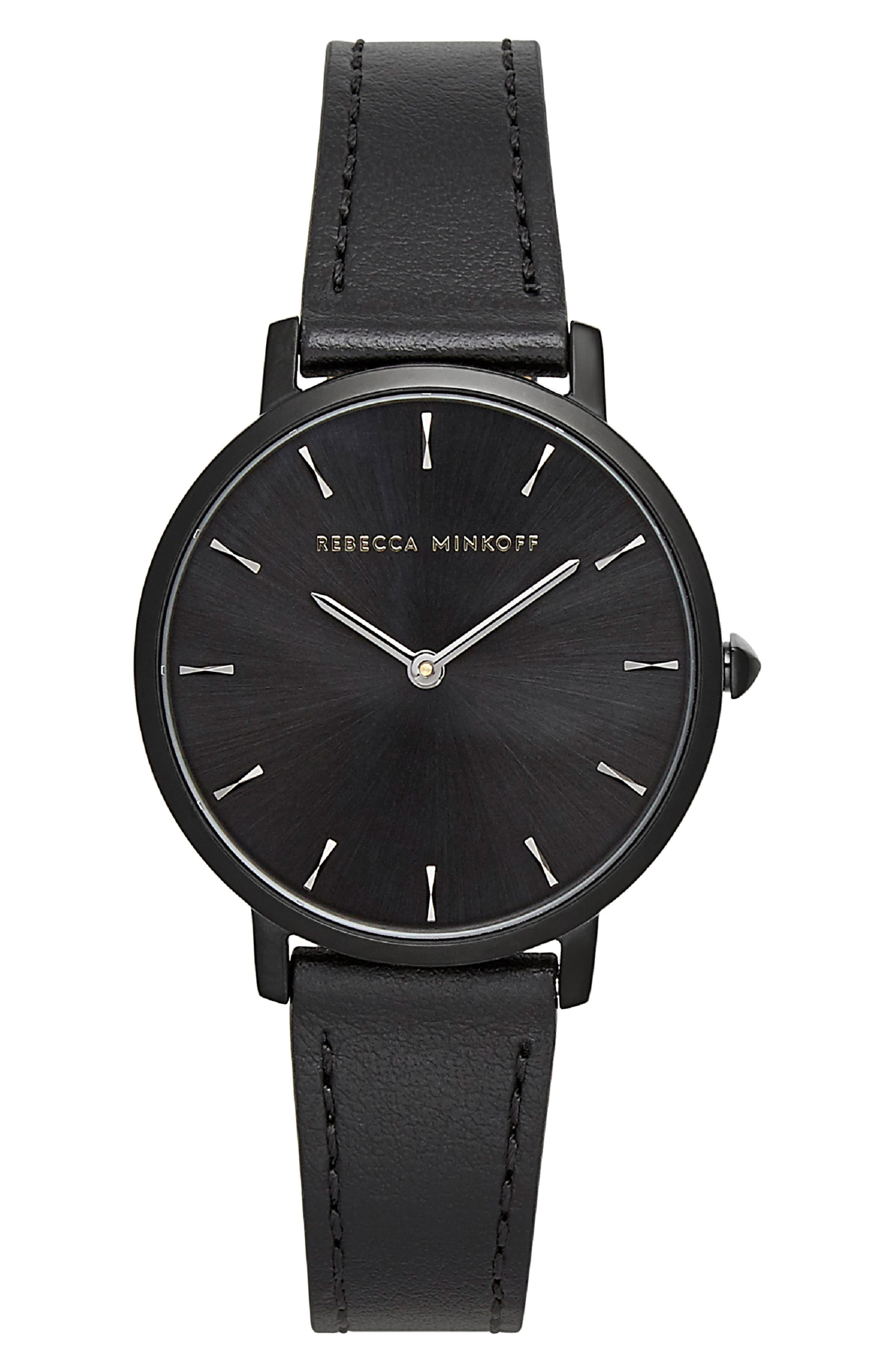 REBECCA MINKOFF Major Leather Strap Watch, 35mm, Main, color, BLACK