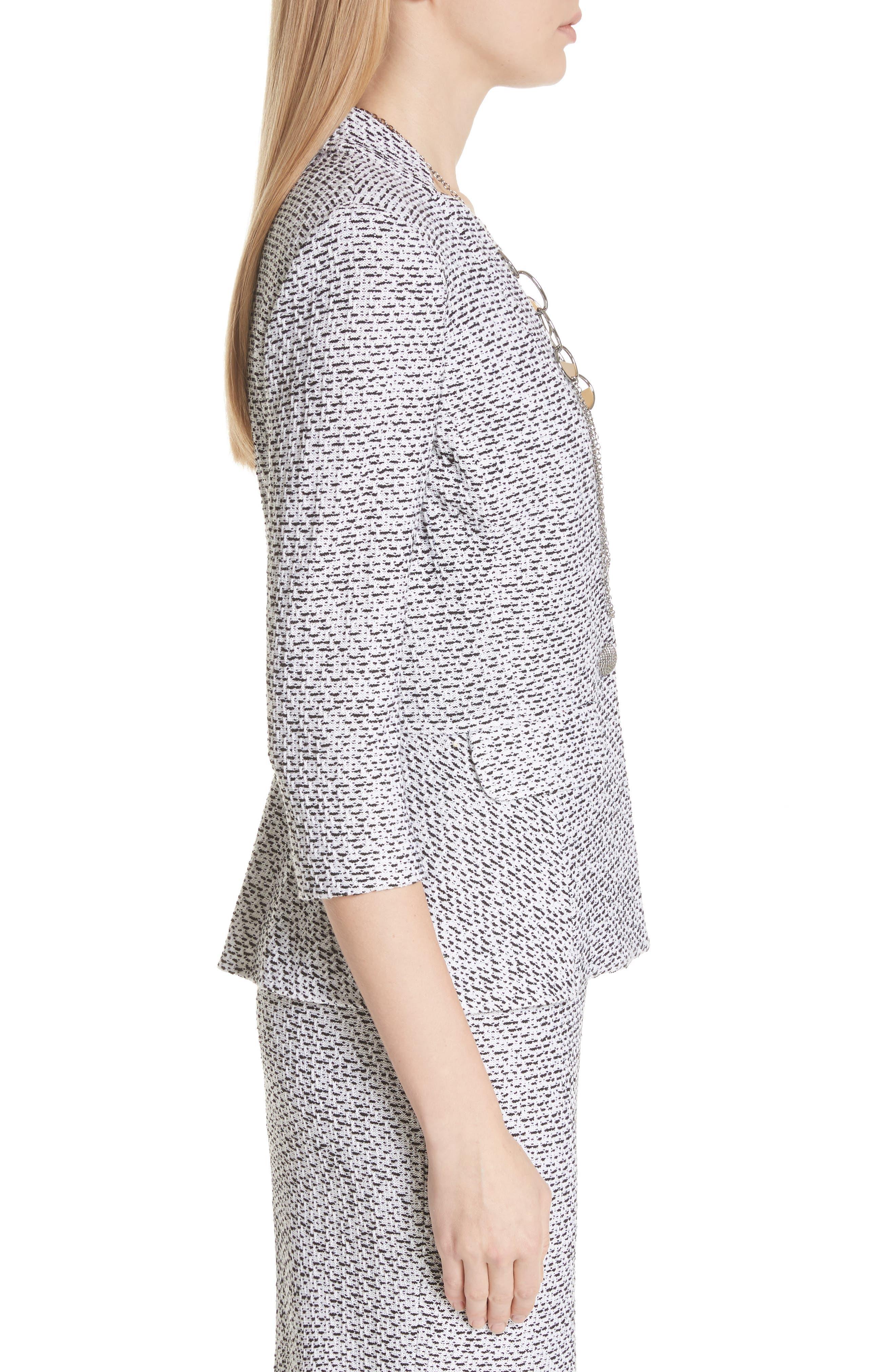 Olivia Bouclé Knit Jacket,                             Alternate thumbnail 3, color,                             WHITE/ CAVIAR