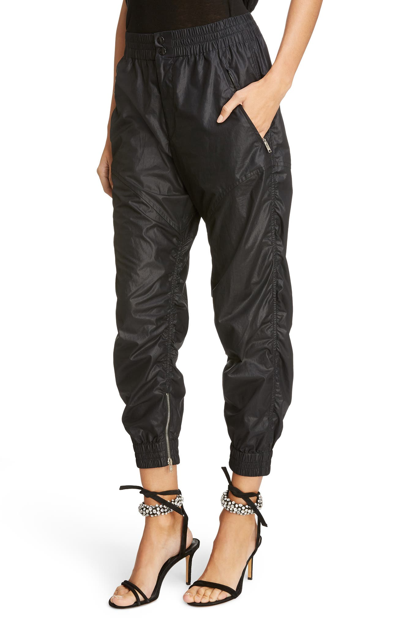 Coated Crop Jogger Pants,                             Alternate thumbnail 4, color,                             001