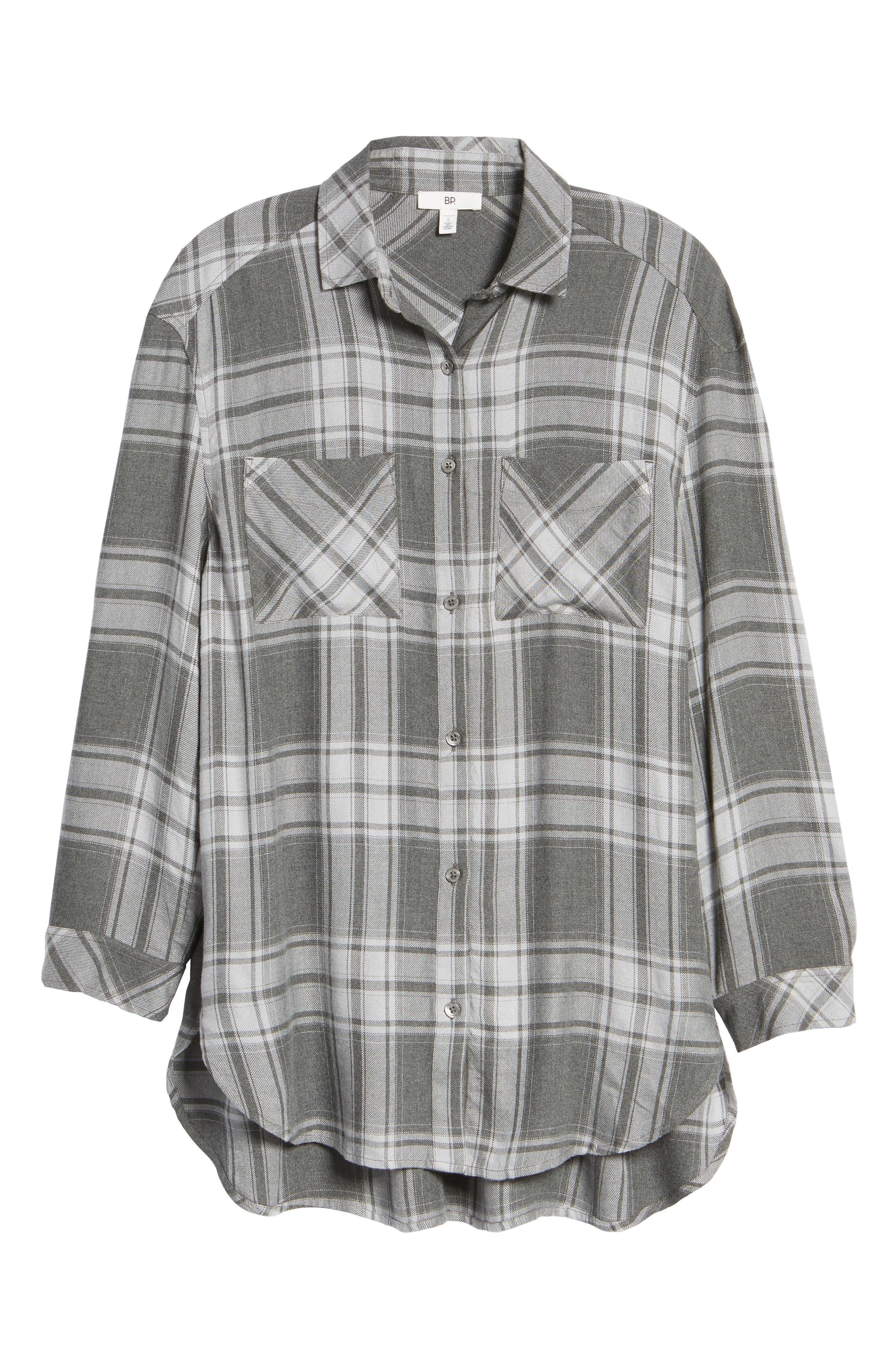 Oversize Flannel Shirt,                             Alternate thumbnail 6, color,                             030