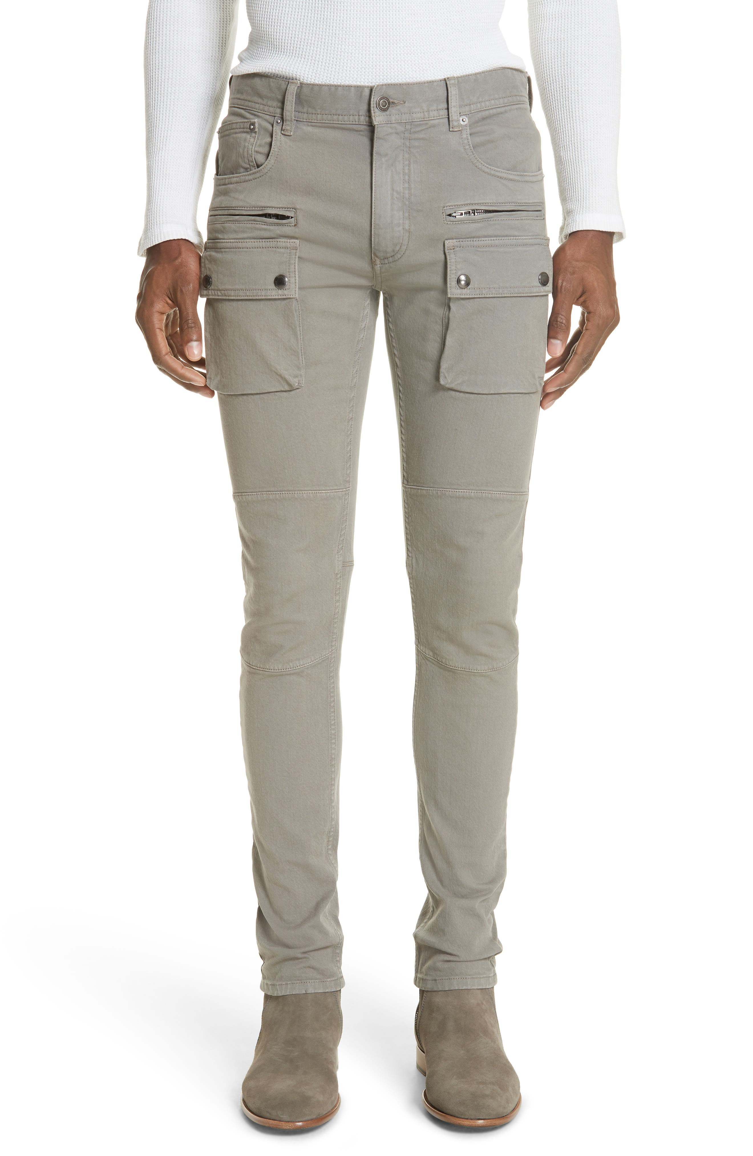 BELSTAFF Men'S Polmont Garment-Dyed Denim Skinny Cargo Jeans in Smoke Grey