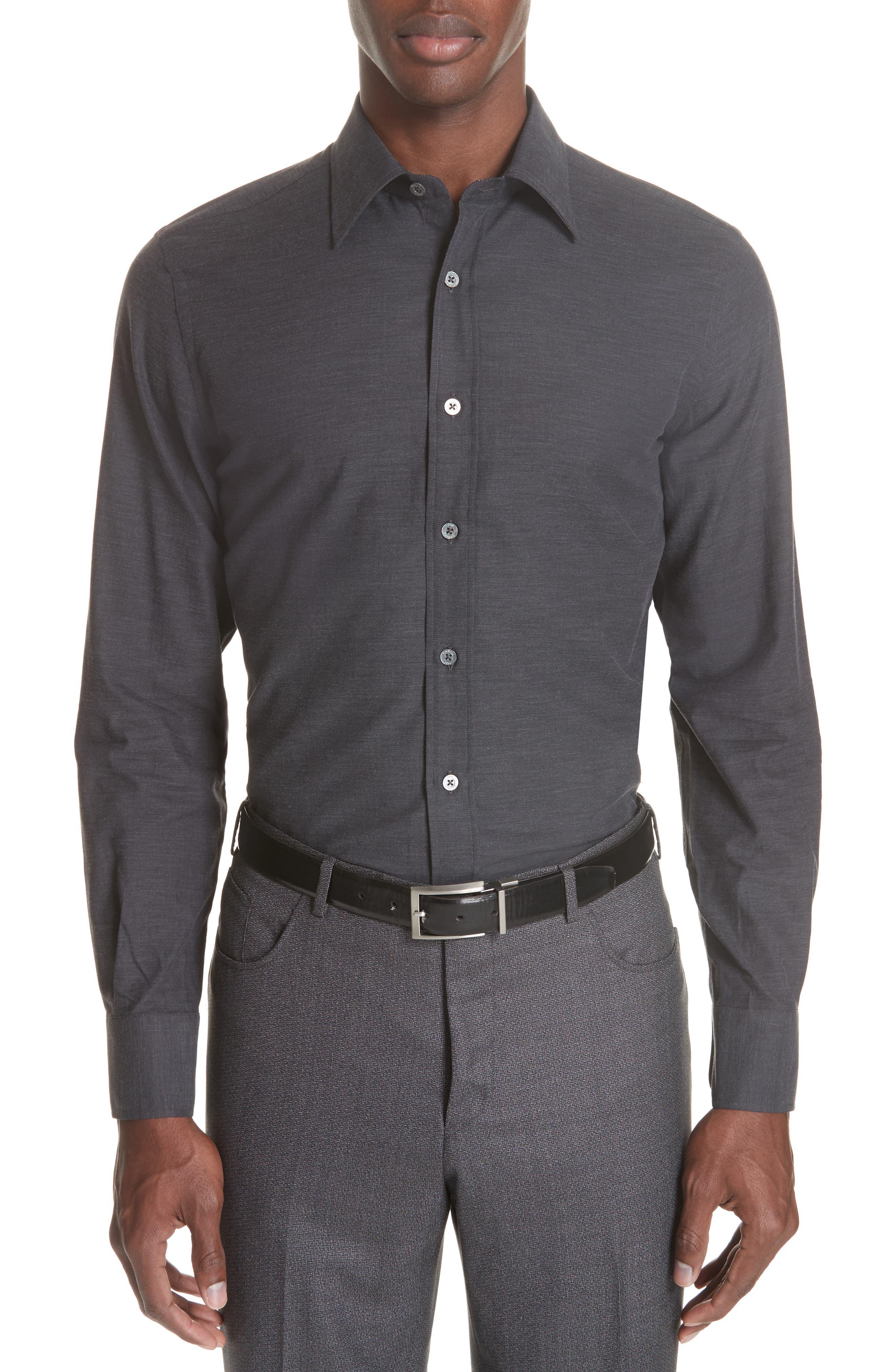 Classic Fit Herringbone Sport Shirt,                         Main,                         color, CHARCOAL