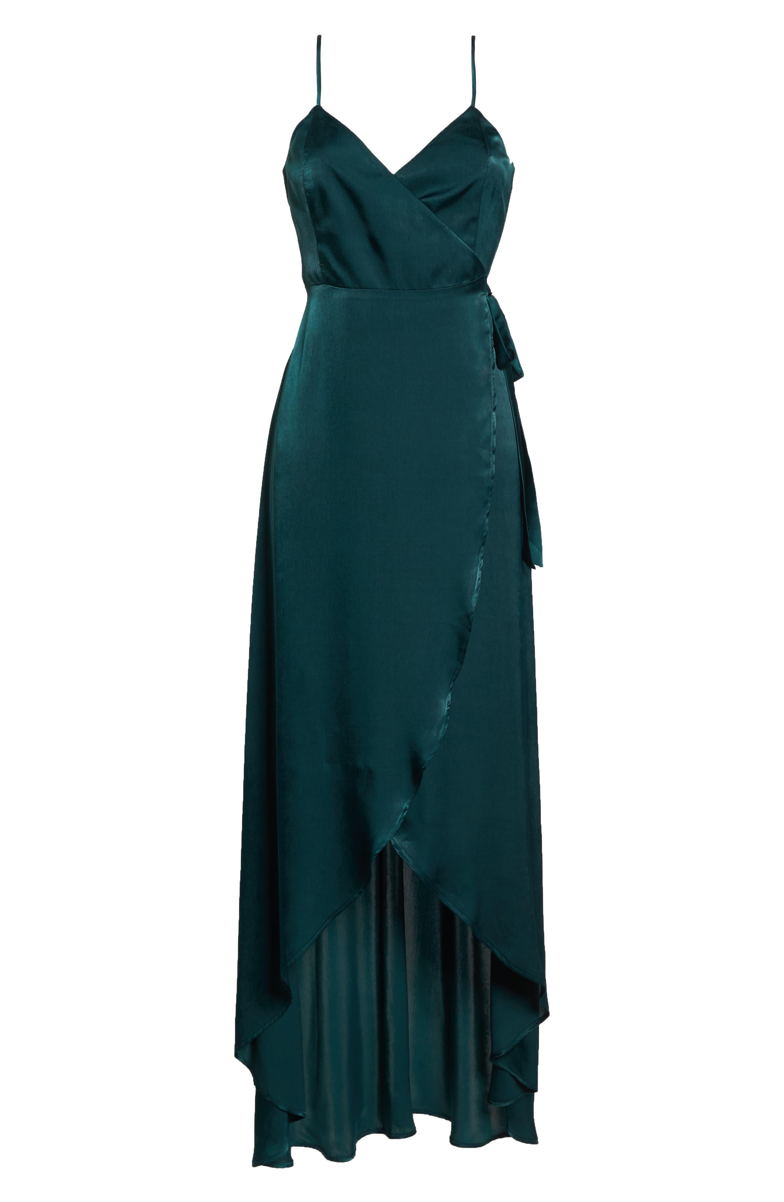 Mariah Satin Wrap Evening Dress,                             Alternate thumbnail 6, color,                             301