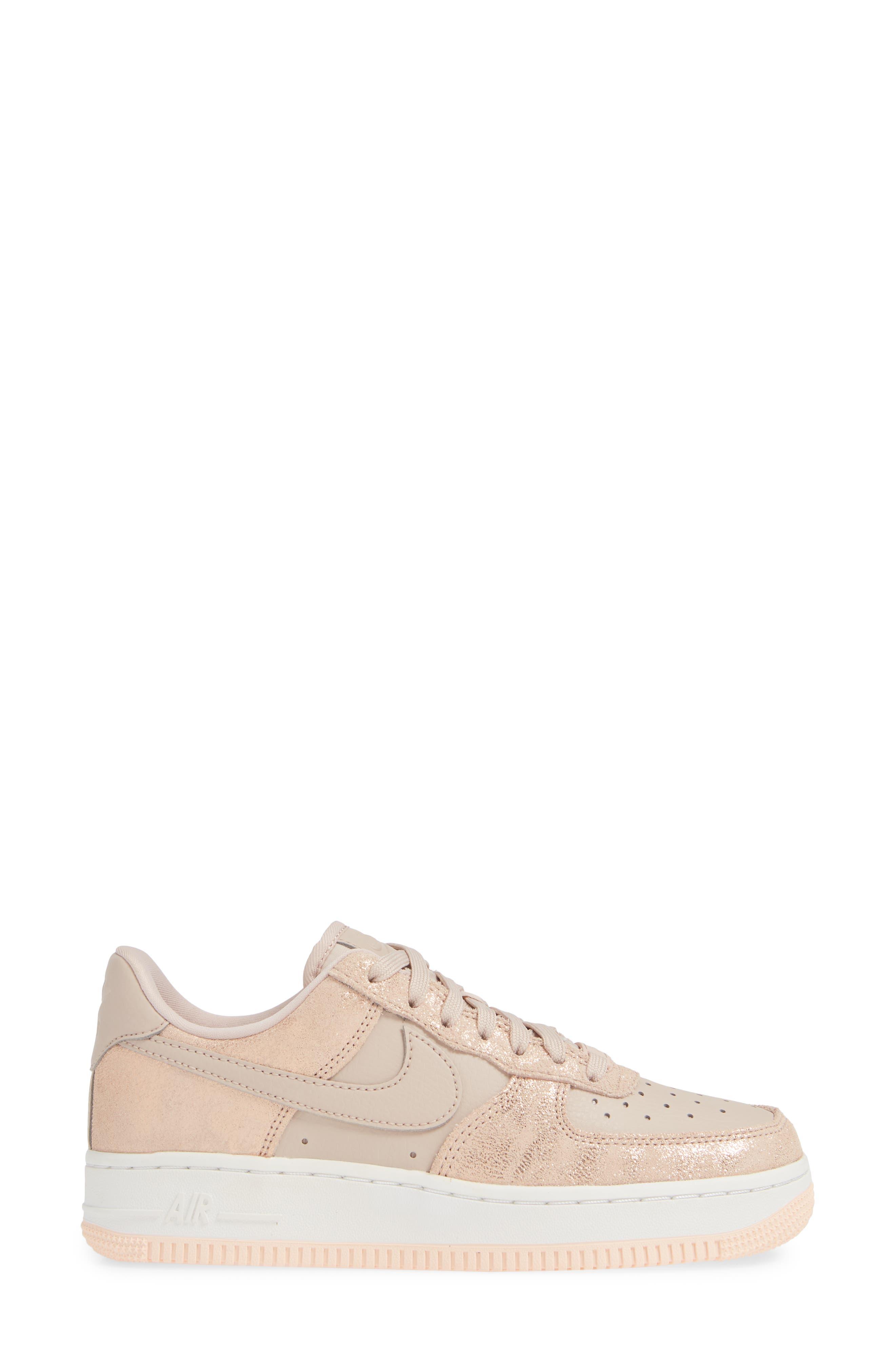 Air Force 1 '07 Premium Sneaker,                             Alternate thumbnail 3, color,                             RED BRONZE/ PARTICLE BEIGE