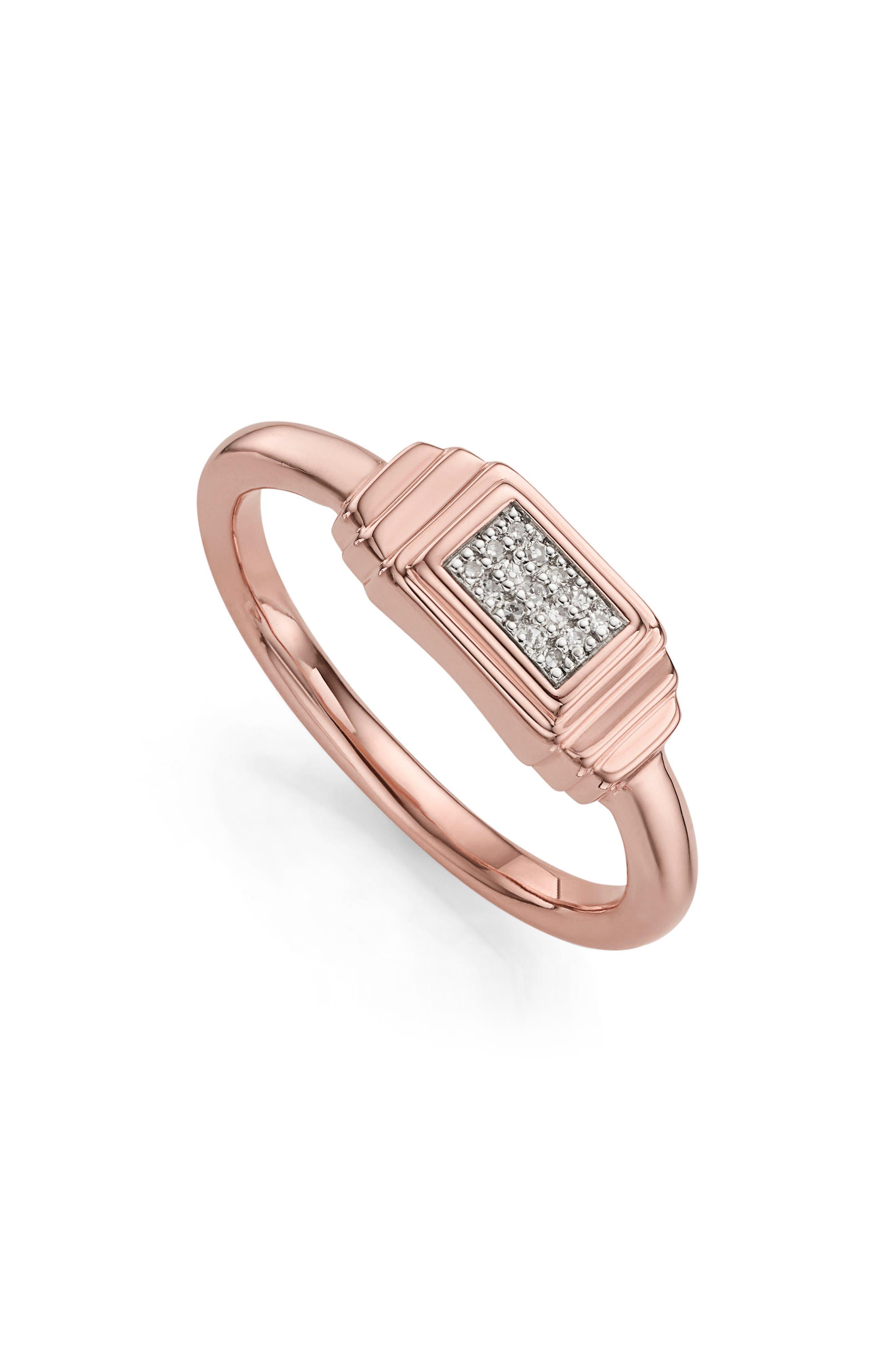 Baja Deco Diamond Ring,                             Main thumbnail 1, color,                             ROSE GOLD/ DIAMOND