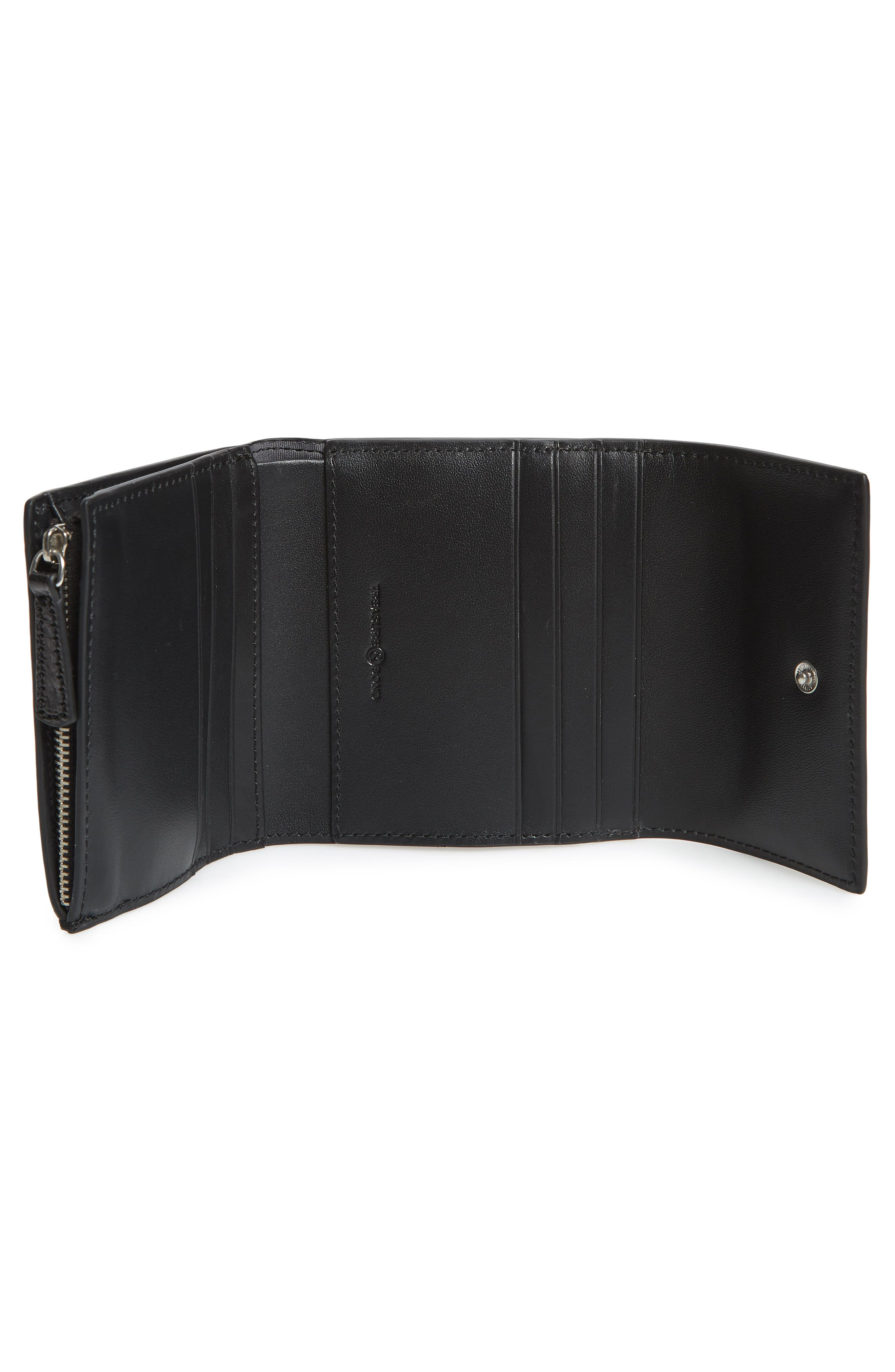 Tracy Leather Trifold Wallet,                             Alternate thumbnail 2, color,                             BLACK