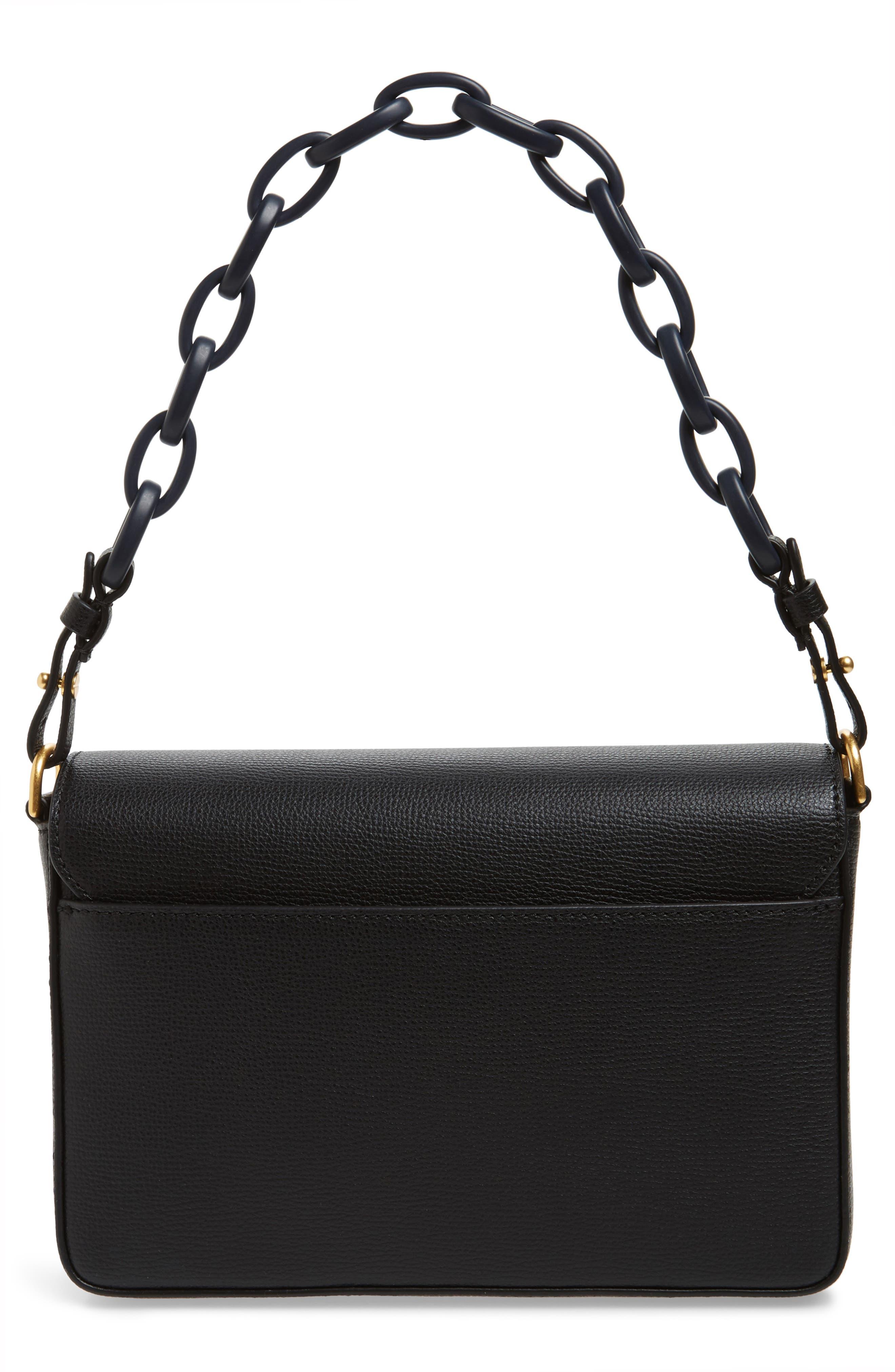 Kira Leather Shoulder Bag,                             Alternate thumbnail 4, color,                             BLACK