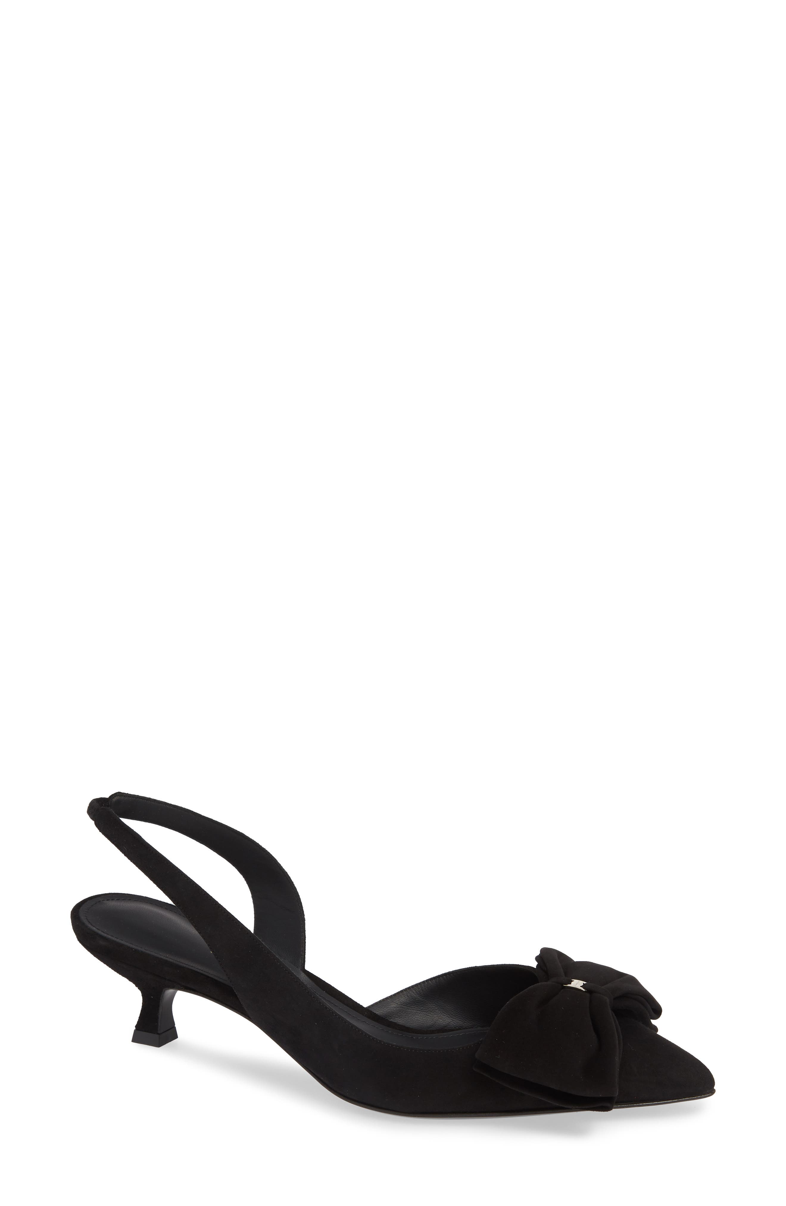 Reda Bow Slingback Pump,                             Main thumbnail 1, color,                             BLACK