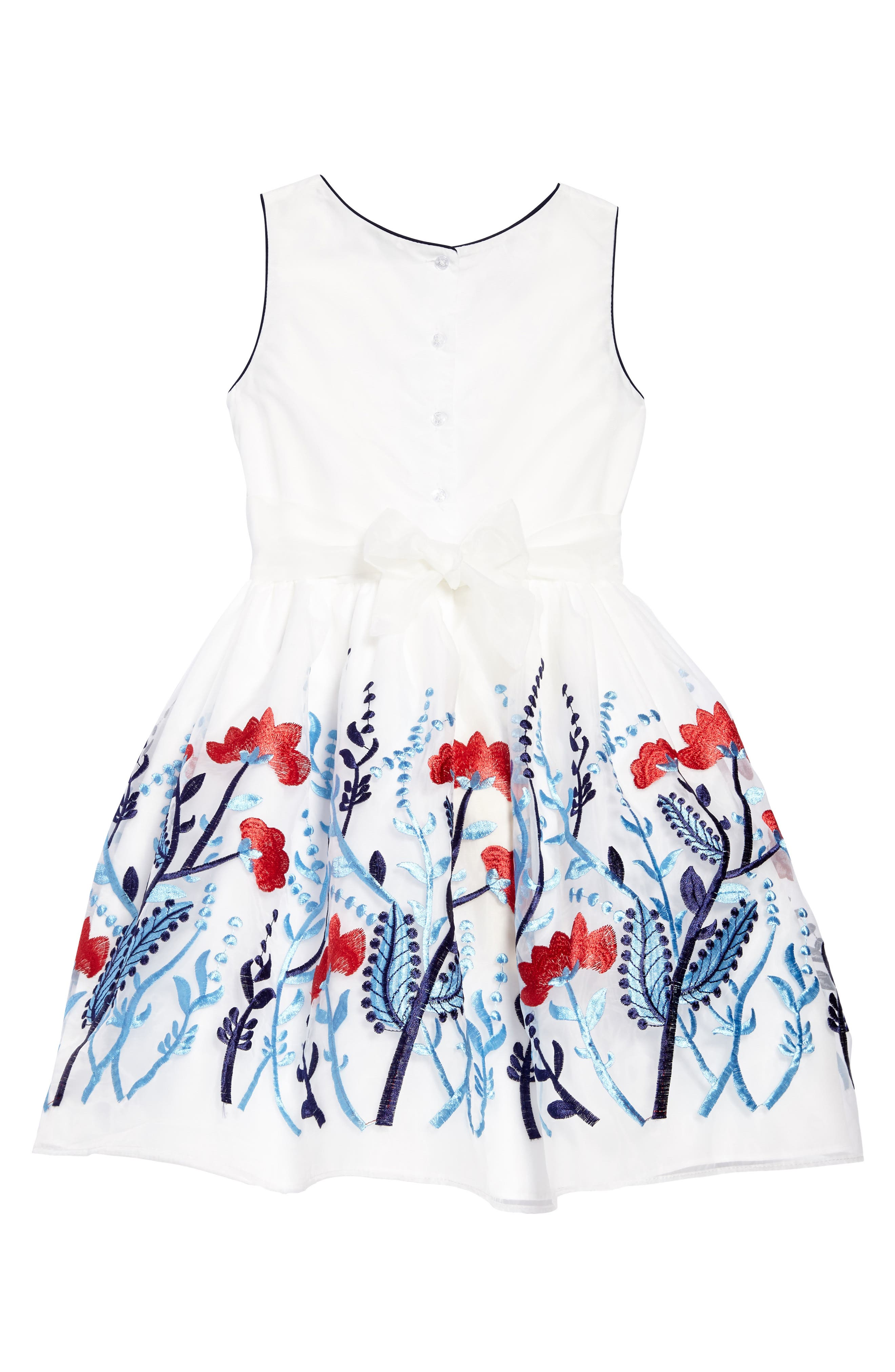 Floral Embroidered Organza Dress,                             Alternate thumbnail 2, color,                             100