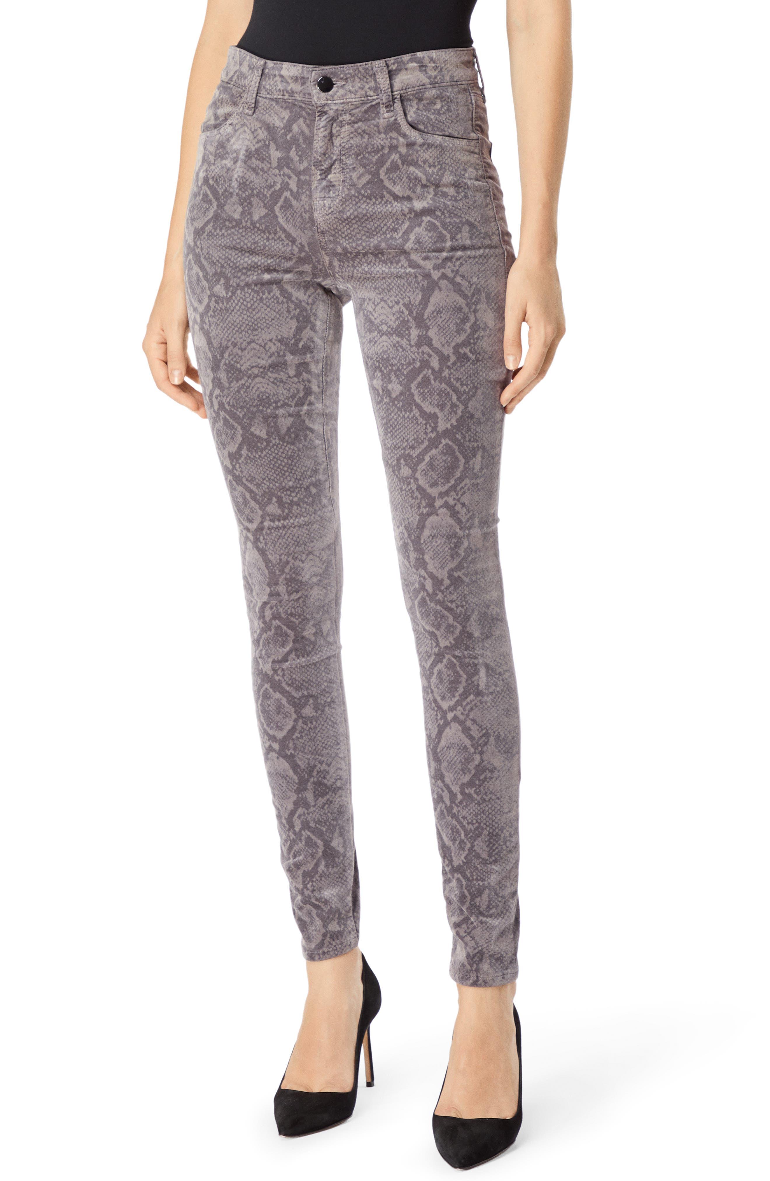 J BRAND Maria Python-Print Velvet High-Rise Skinny Jeans Size 24 in Multi