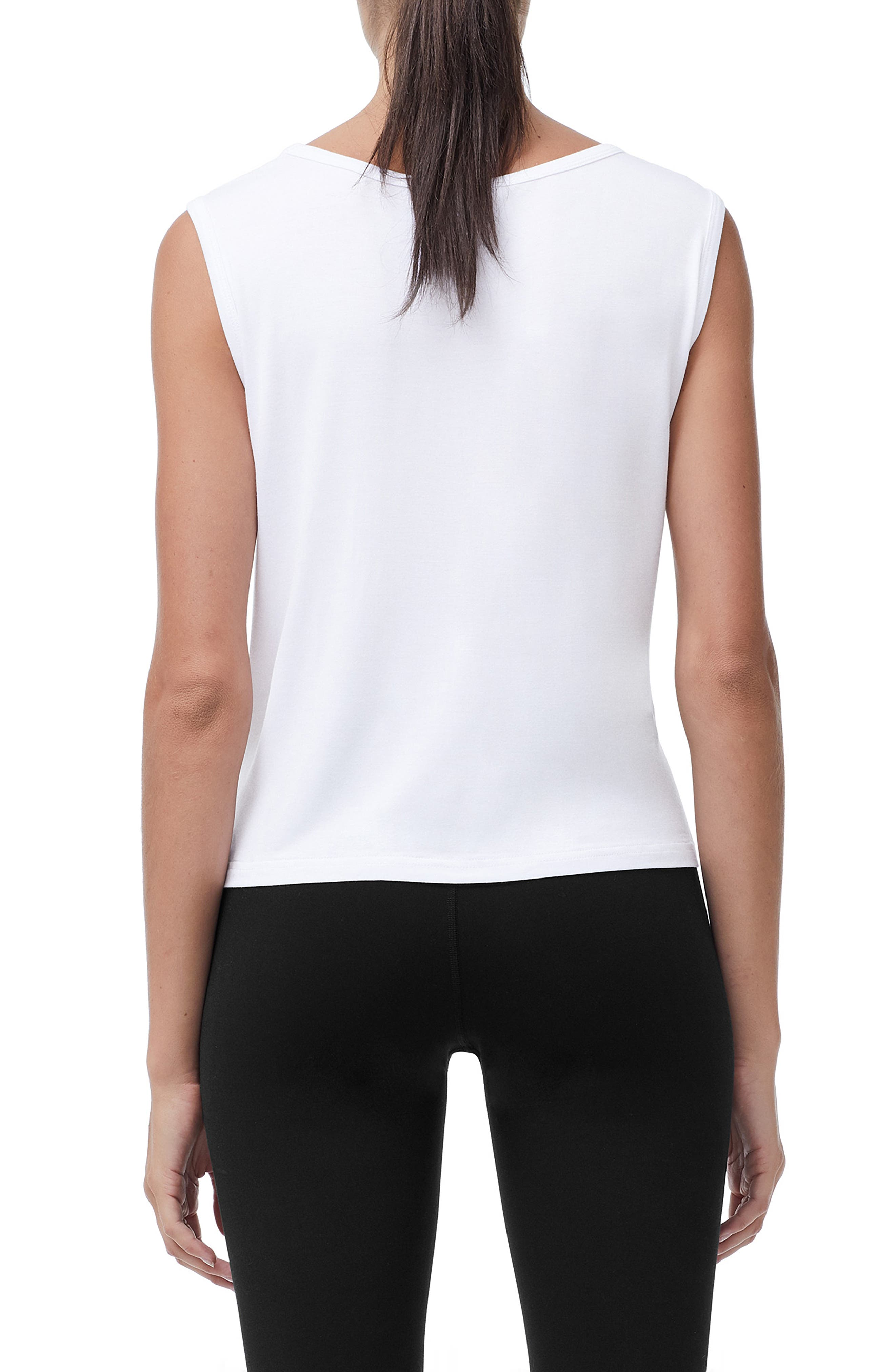 Knotted Tank Top,                             Alternate thumbnail 3, color,                             WHITE001