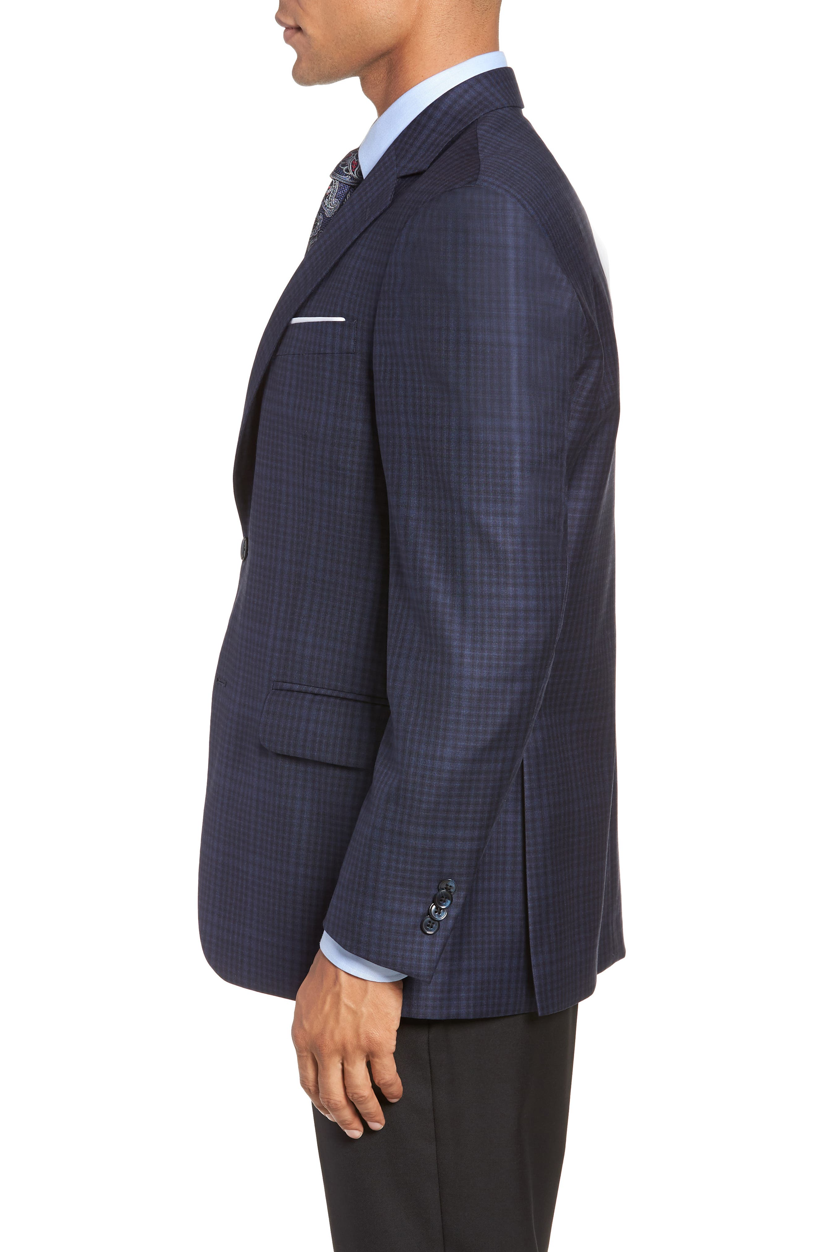 Classic Fit Plaid Wool Sport Coat,                             Alternate thumbnail 3, color,                             NAVY