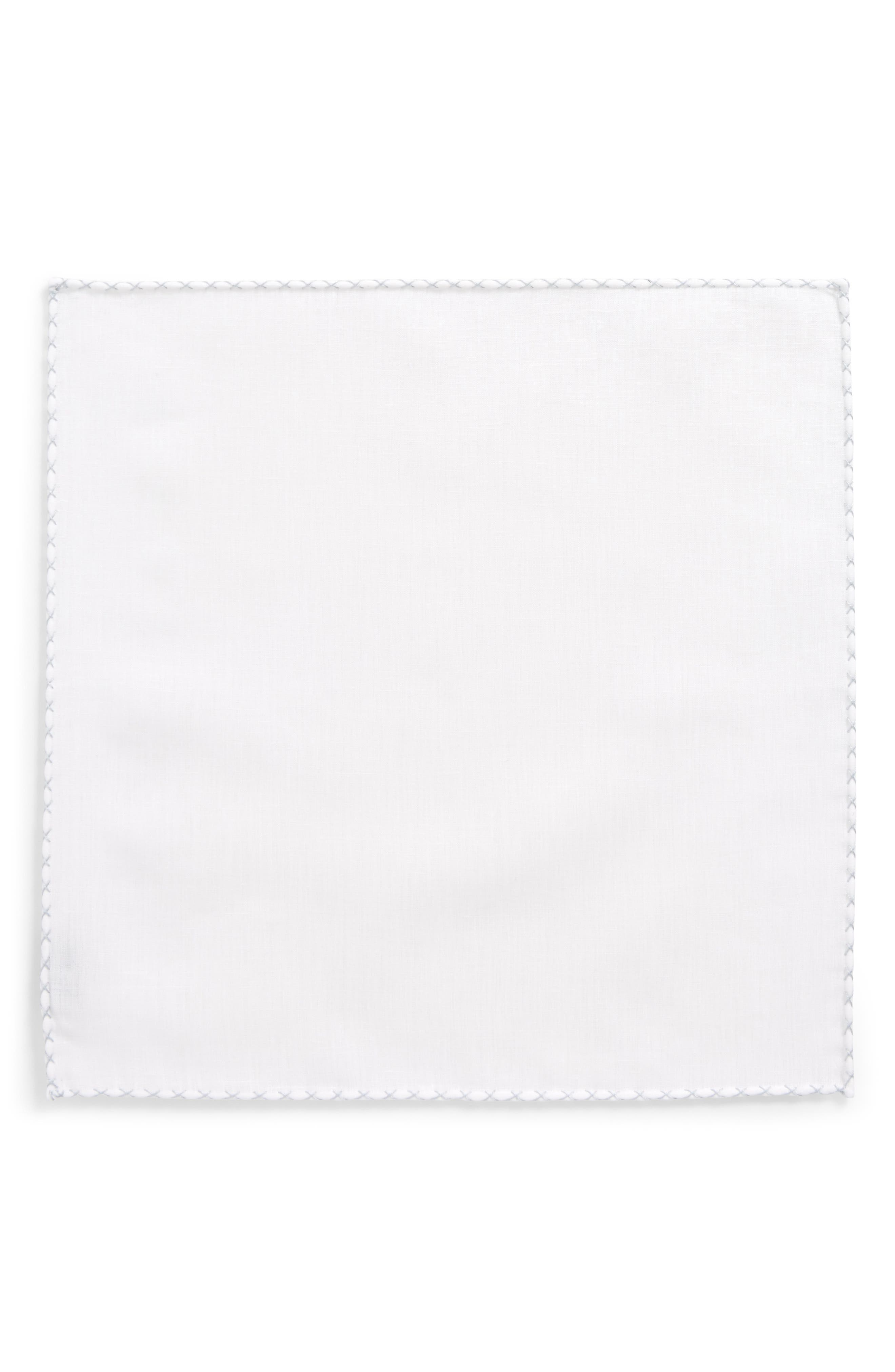 Solid Linen Pocket Square,                             Alternate thumbnail 2, color,                             WHITE/ STONE