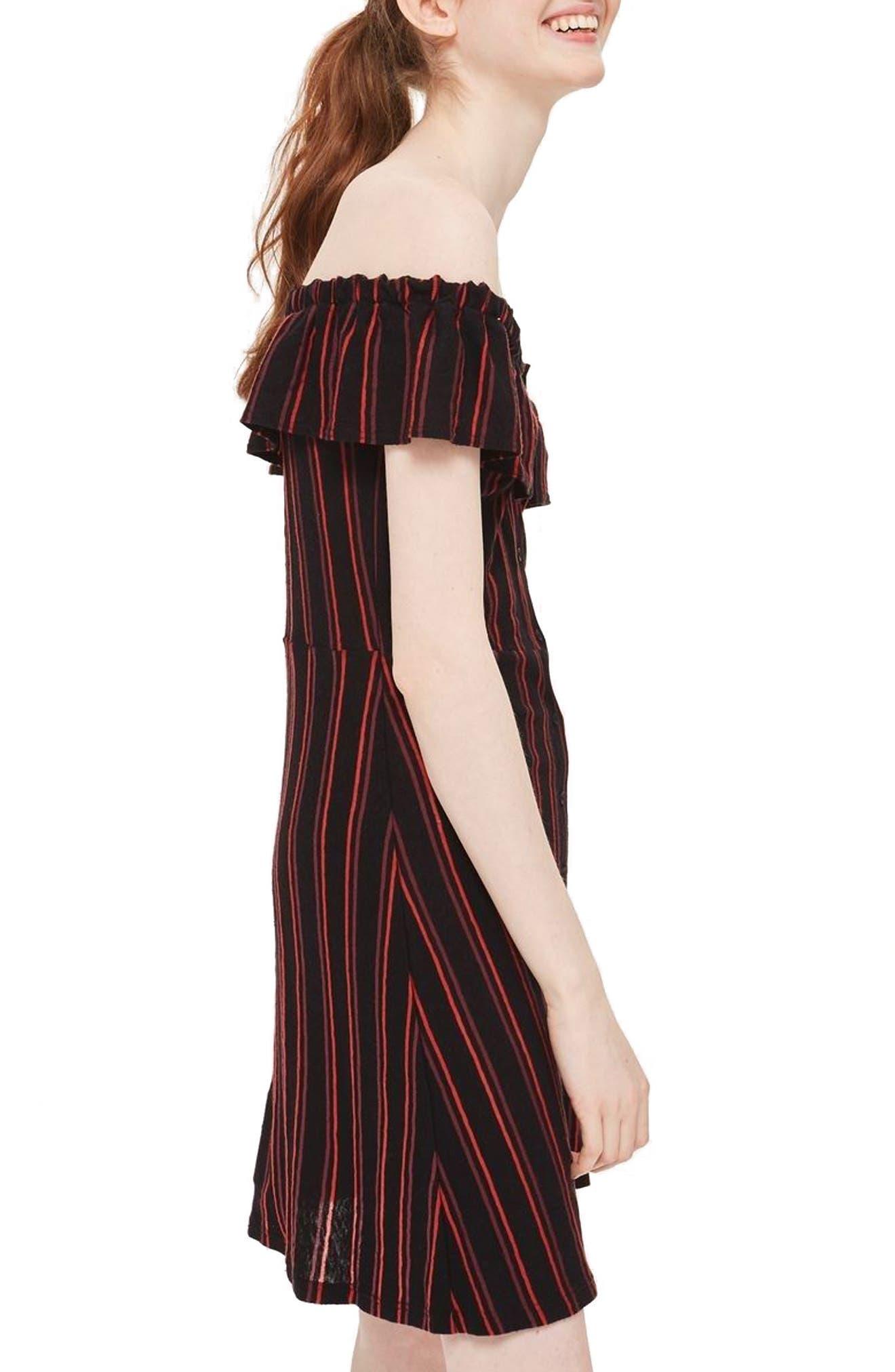 Stripe Frill Bardot Dress,                             Alternate thumbnail 2, color,                             002