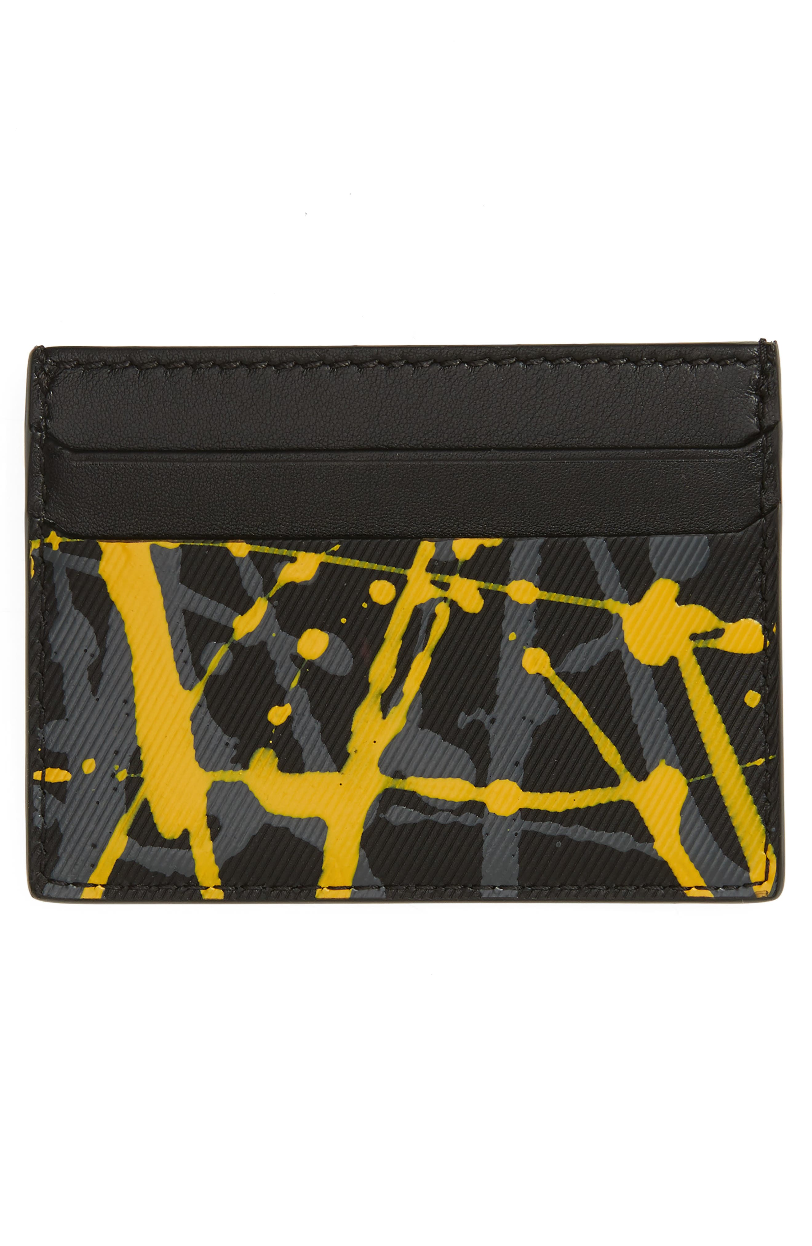 BURBERRY,                             Trench Splash Leather Card Case,                             Alternate thumbnail 2, color,                             001