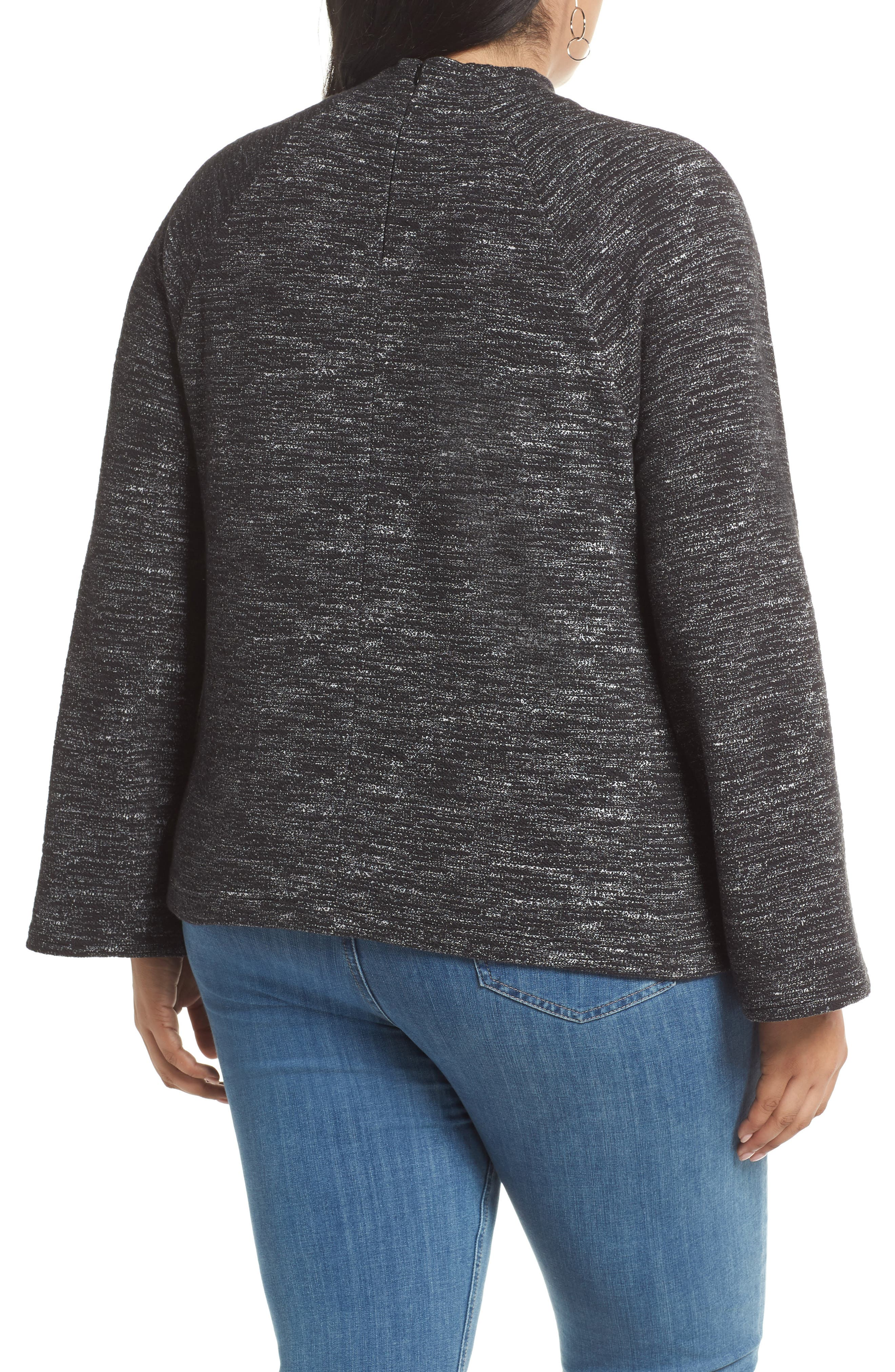 Bell Sleeve Ponte Top,                             Alternate thumbnail 2, color,                             001