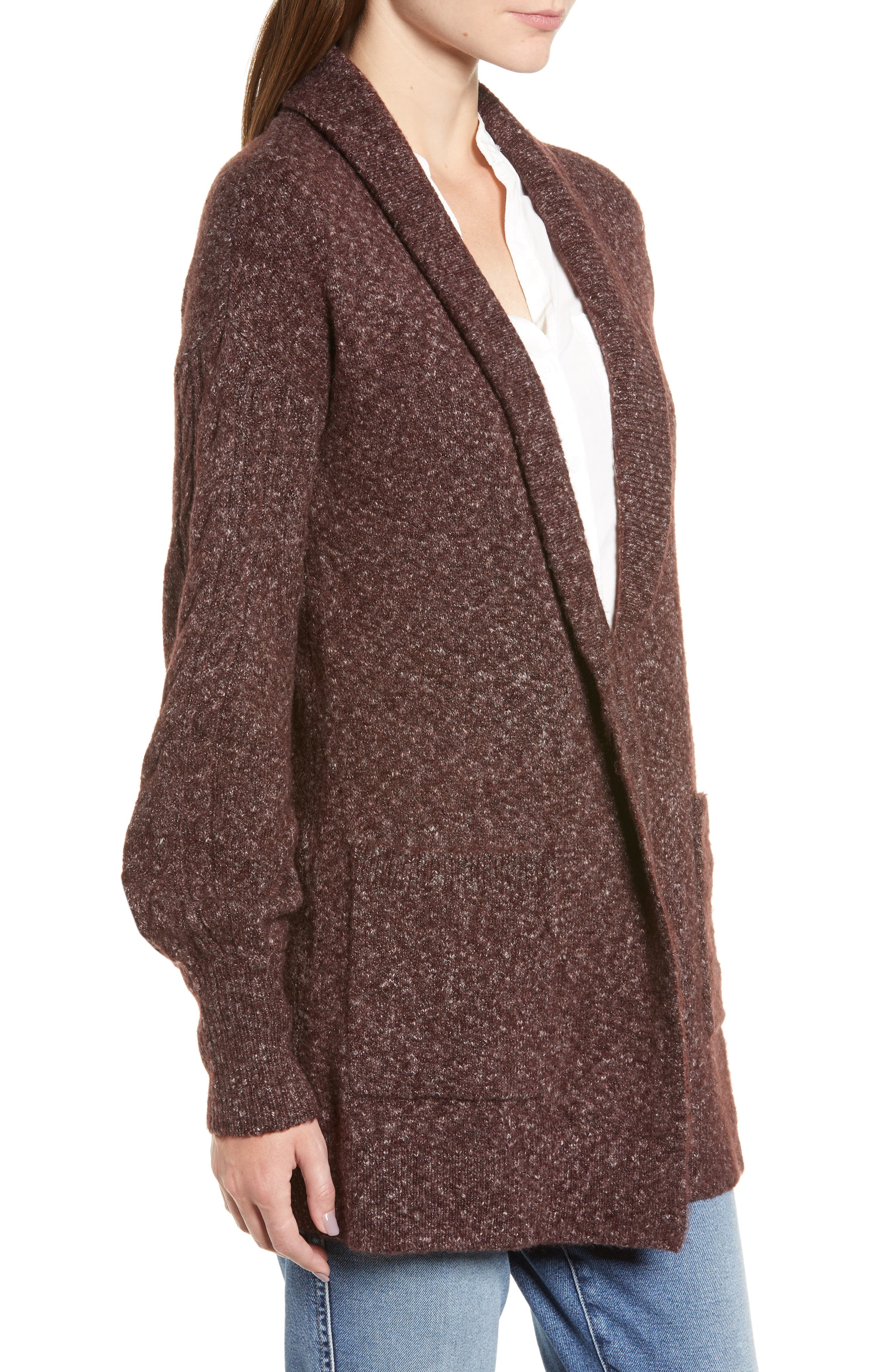 Longline Cardigan,                             Alternate thumbnail 3, color,                             BURGUNDY FUDGE