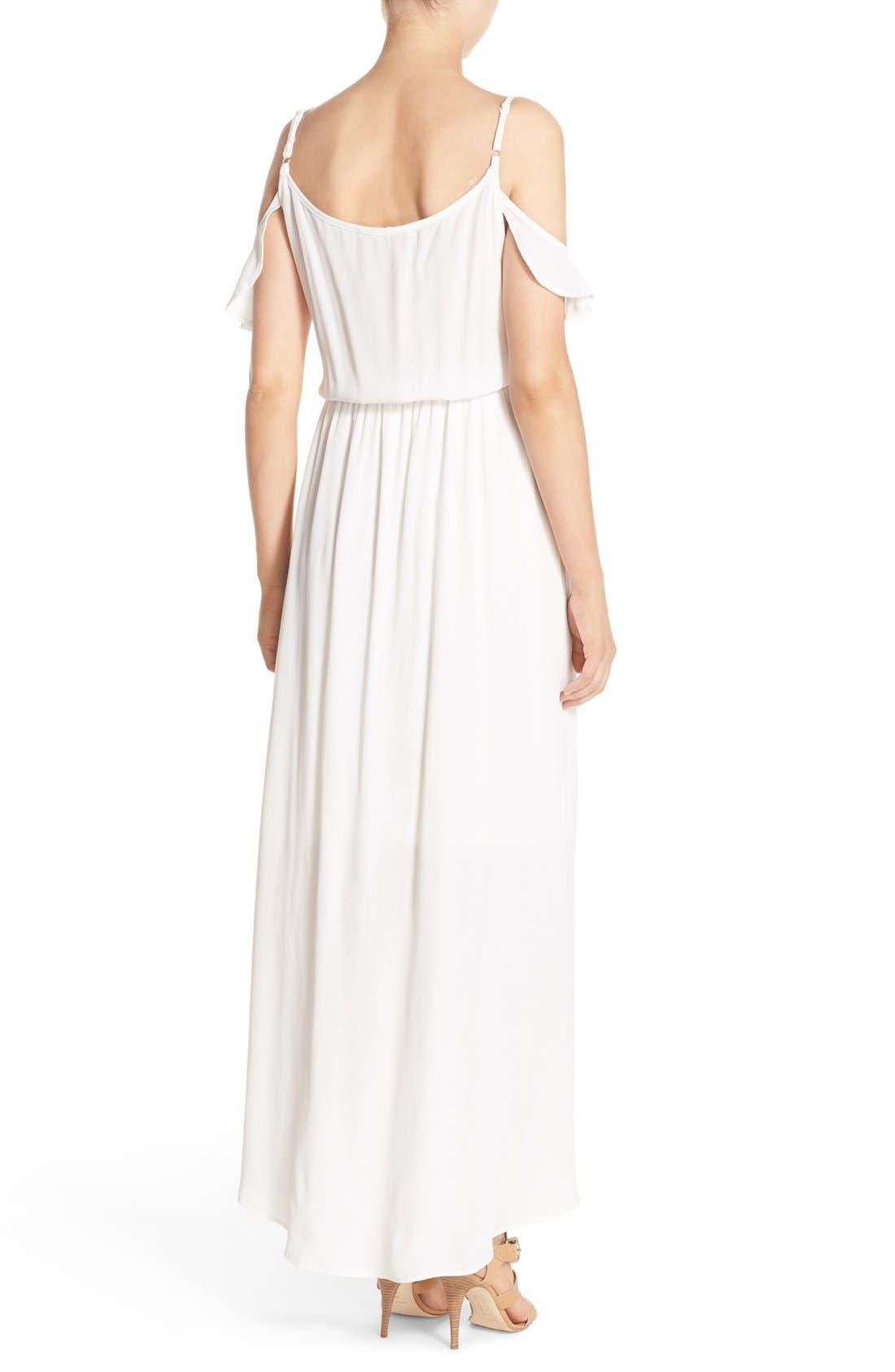 Cold Shoulder Wrap Front Maxi Dress,                             Alternate thumbnail 3, color,                             WHITE