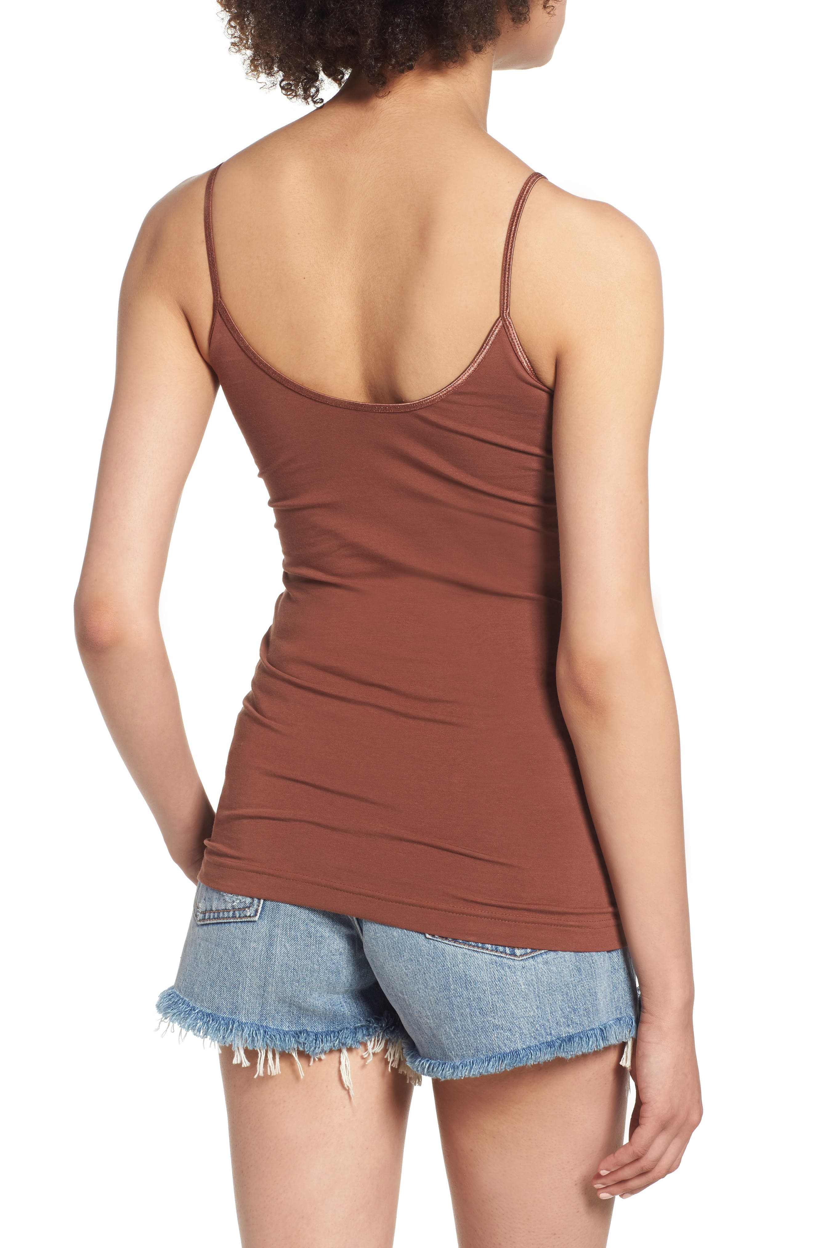 BP., Stretch Camisole, Alternate thumbnail 2, color, BROWN MINK