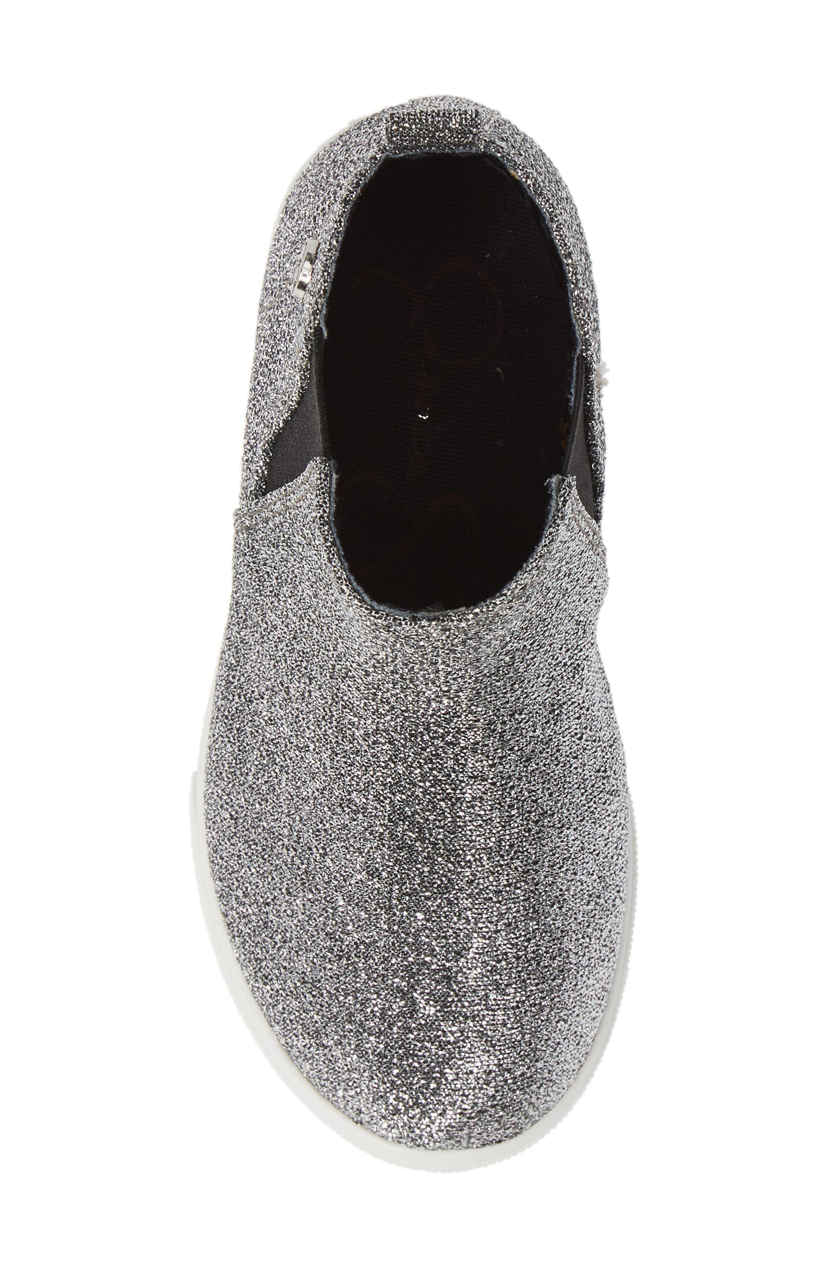 Glitter Sneaker Bootie,                             Alternate thumbnail 5, color,                             PEWTER STRETCH LAME