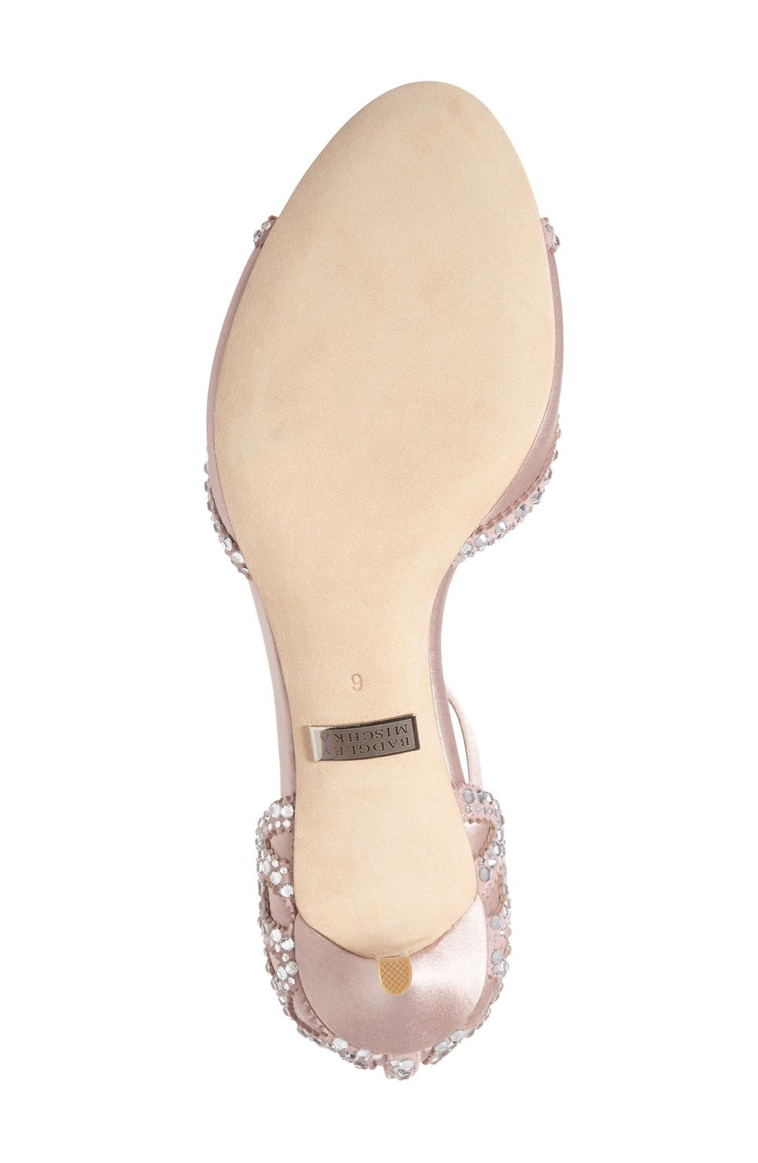 'Gillian' Crystal Embellished d'Orsay Sandal,                             Alternate thumbnail 4, color,                             BLUSH SATIN