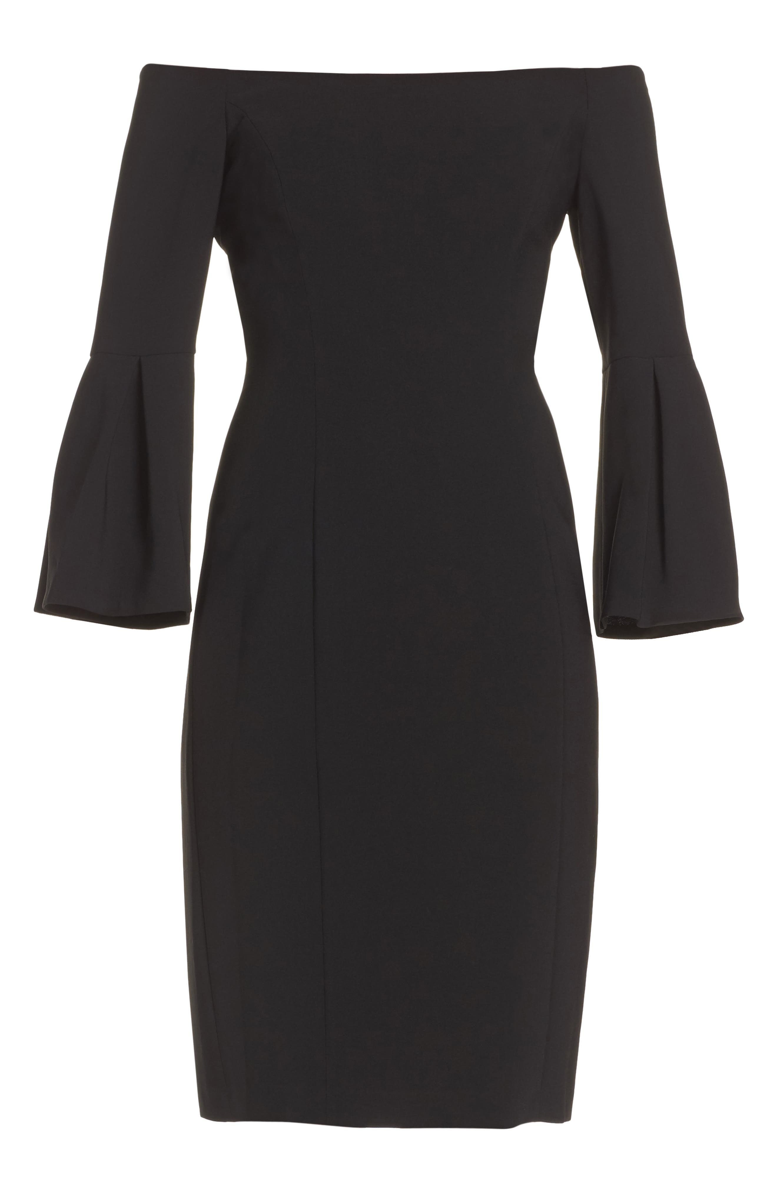 VINCE CAMUTO,                             Off the Shoulder Bell Sleeve Sheath Dress,                             Alternate thumbnail 6, color,                             001