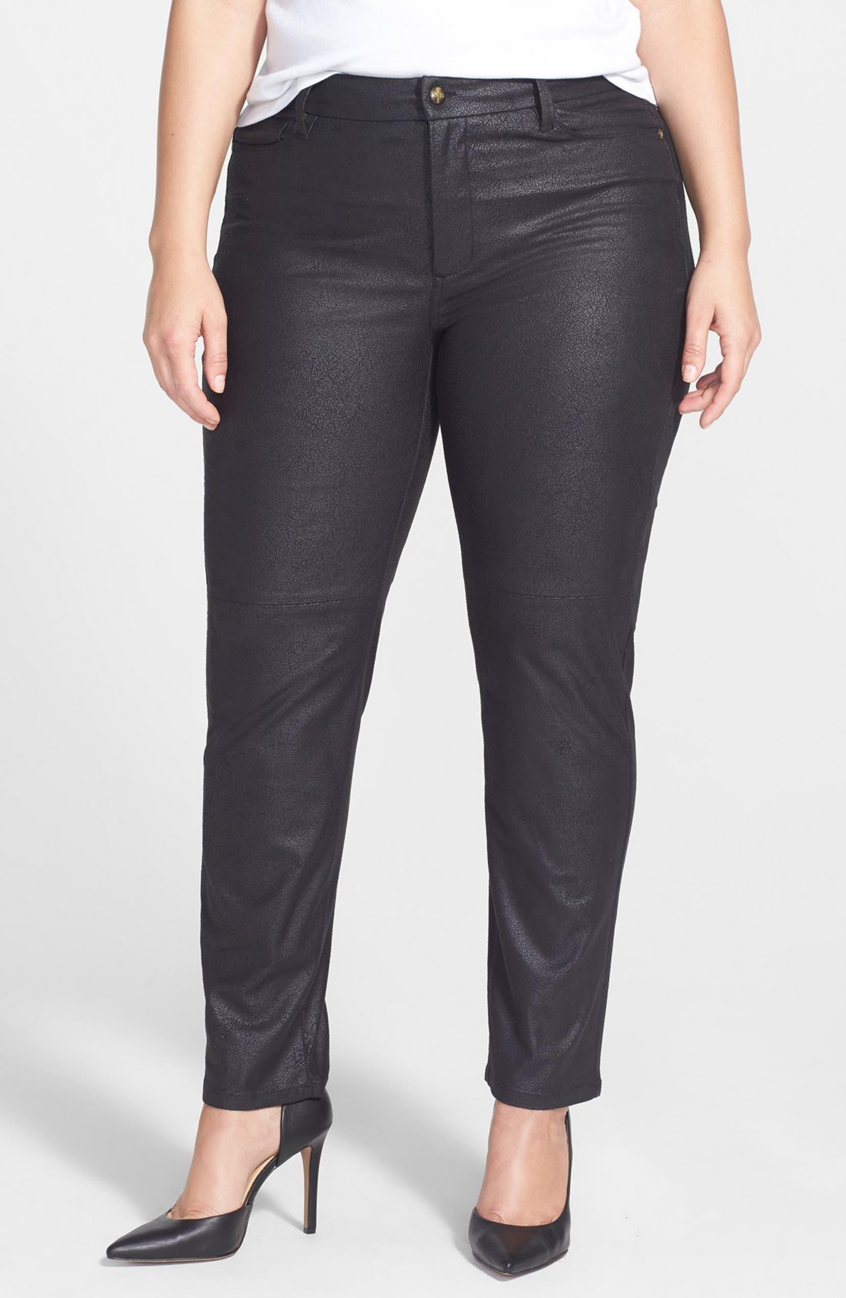 db9d63d2c7418 NYDJ  Sheri  Coated Stretch Skinny Jeans (Black) (Plus Size)