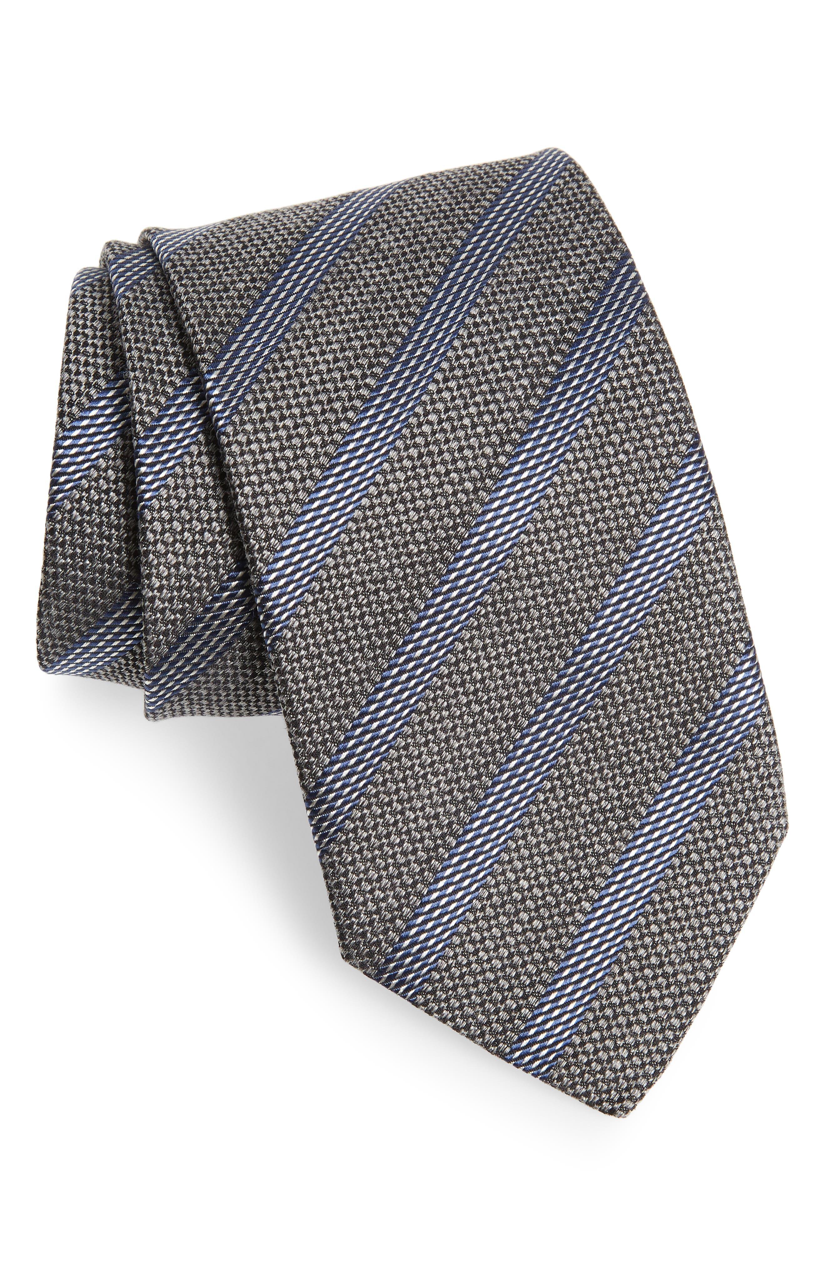 Stripe Cotton Blend Tie,                         Main,                         color, 020