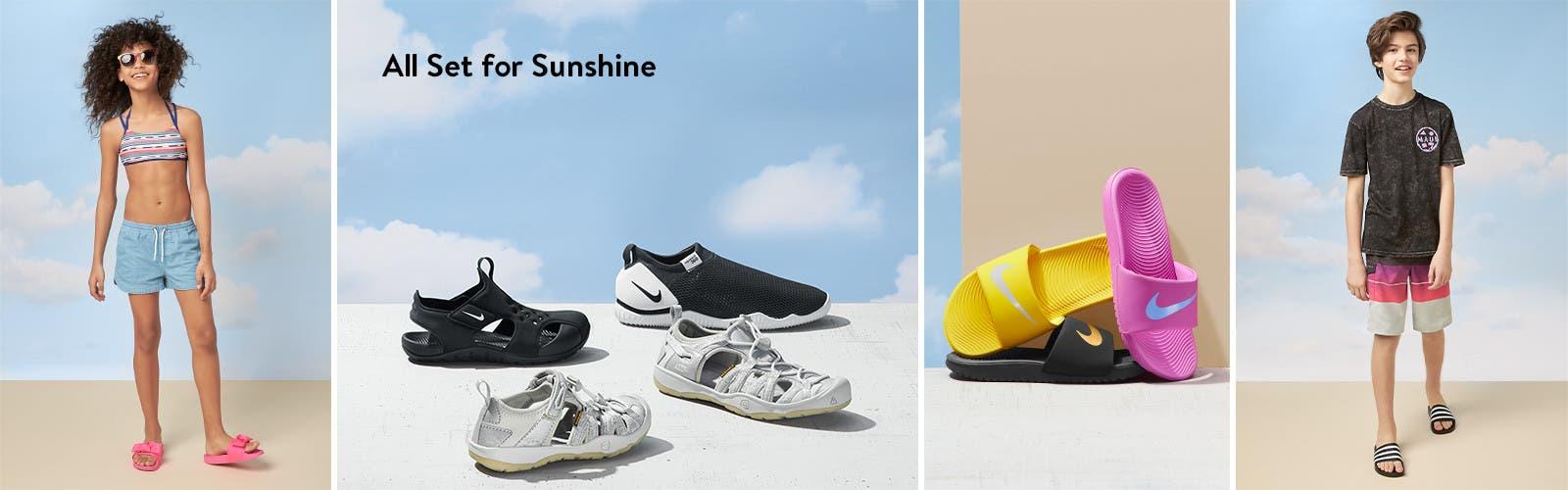 Kids' shoes all set for sunshine.