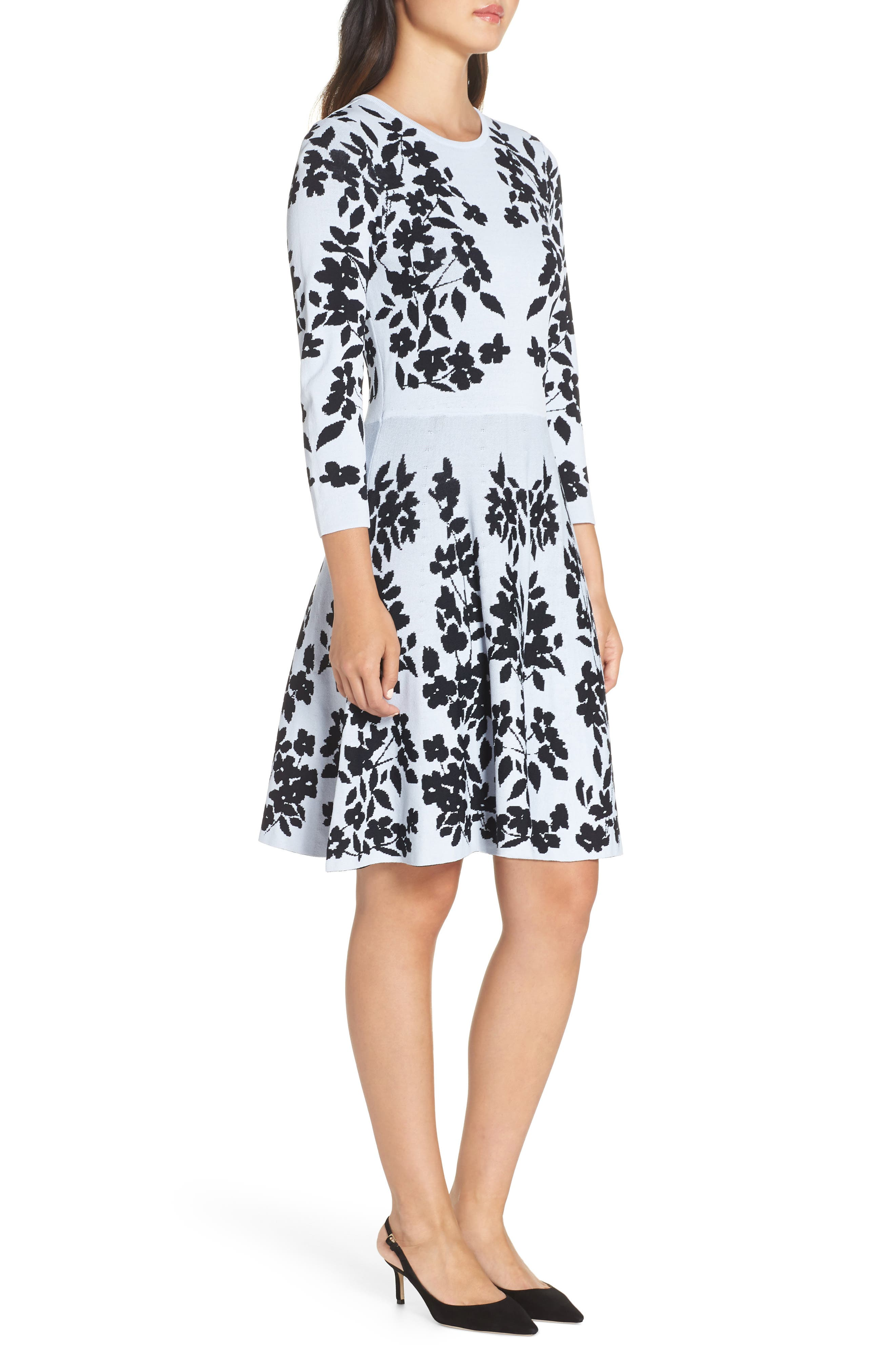 Floral Fit & Flare Sweater Dress,                             Alternate thumbnail 3, color,                             BLUE