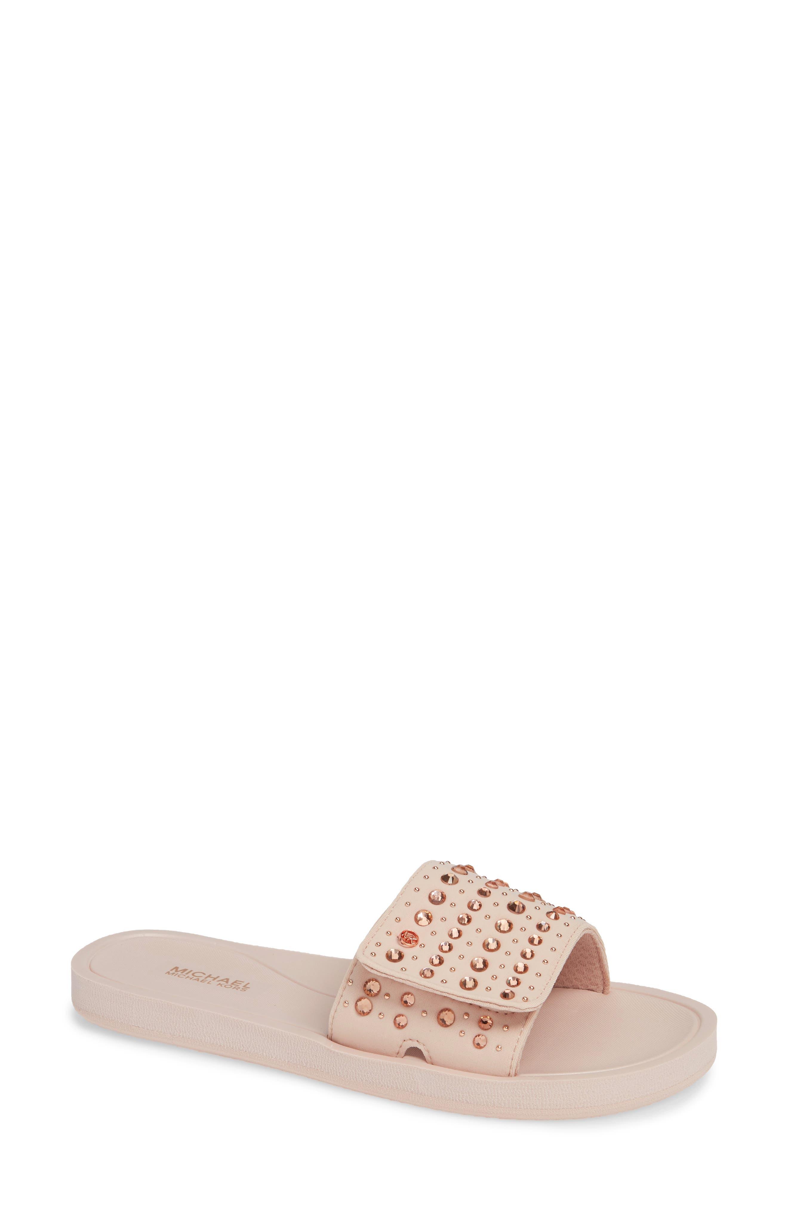 Mk Crystal Pool Slide Sandals in Soft Pink