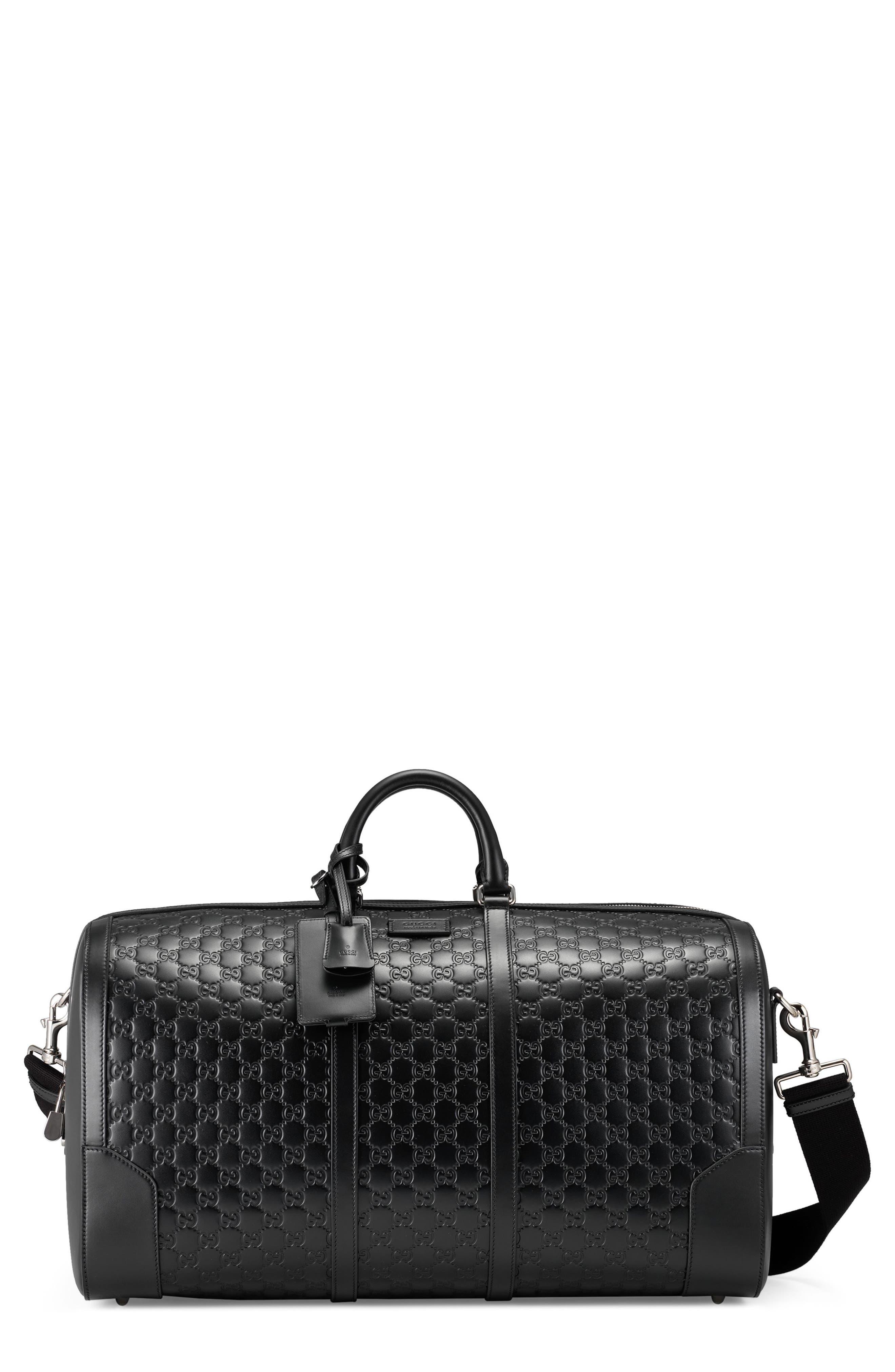 Signature Strap Leather Duffel,                             Main thumbnail 1, color,                             BLACK