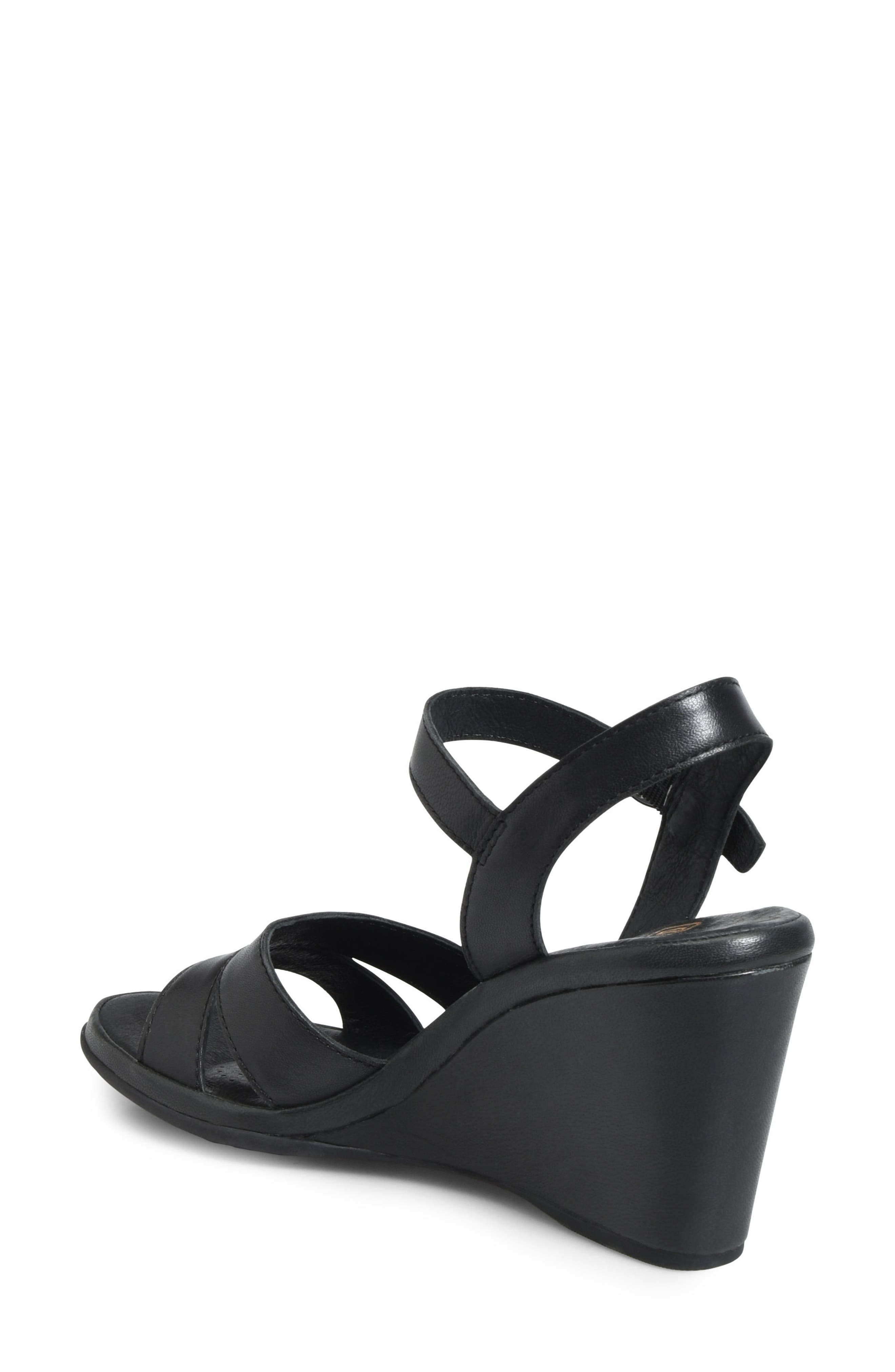 Hydro Wedge Sandal,                             Alternate thumbnail 2, color,                             BLACK LEATHER