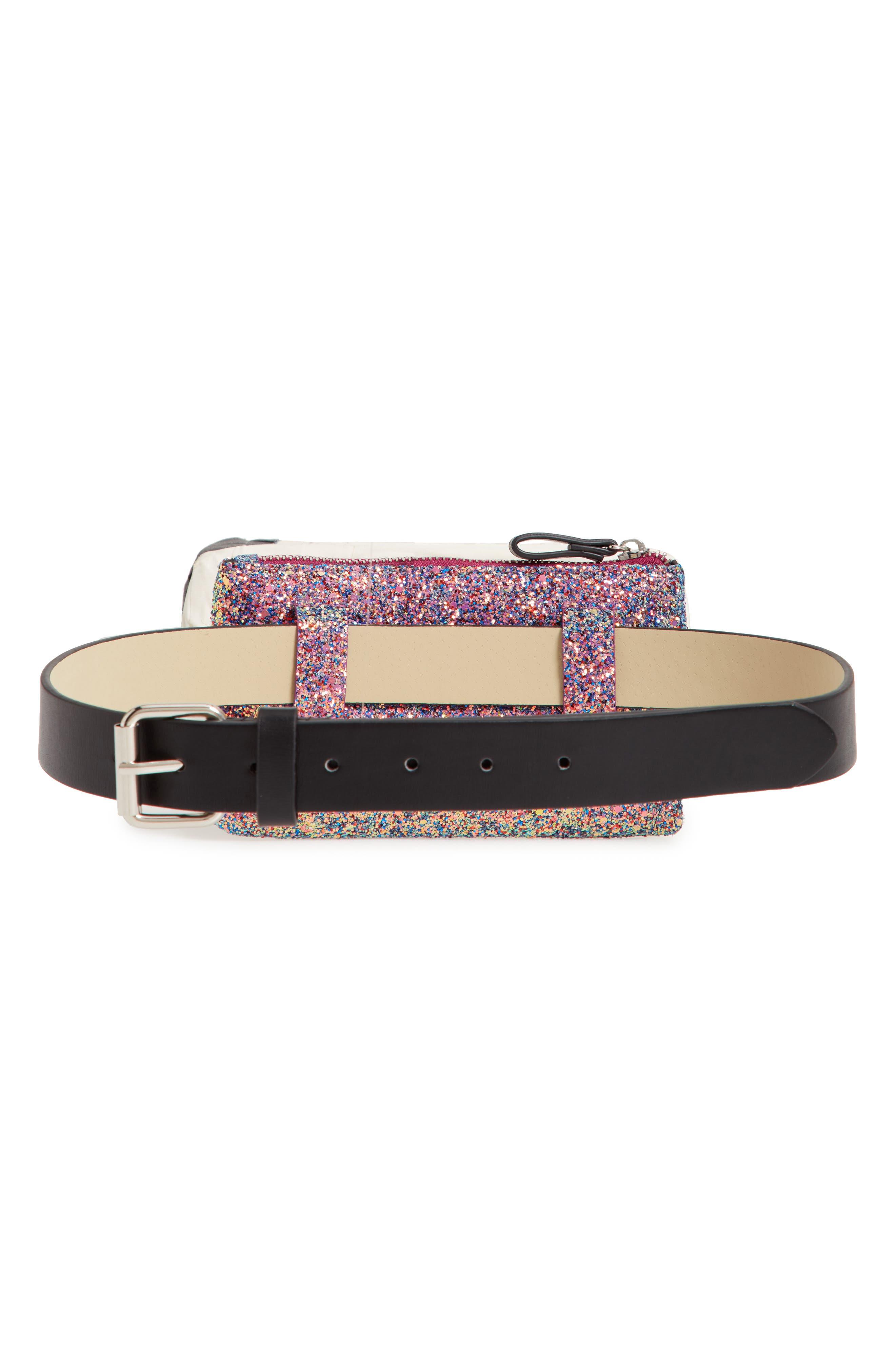 Glitter Belt Bag,                             Alternate thumbnail 4, color,                             PINK MULTI