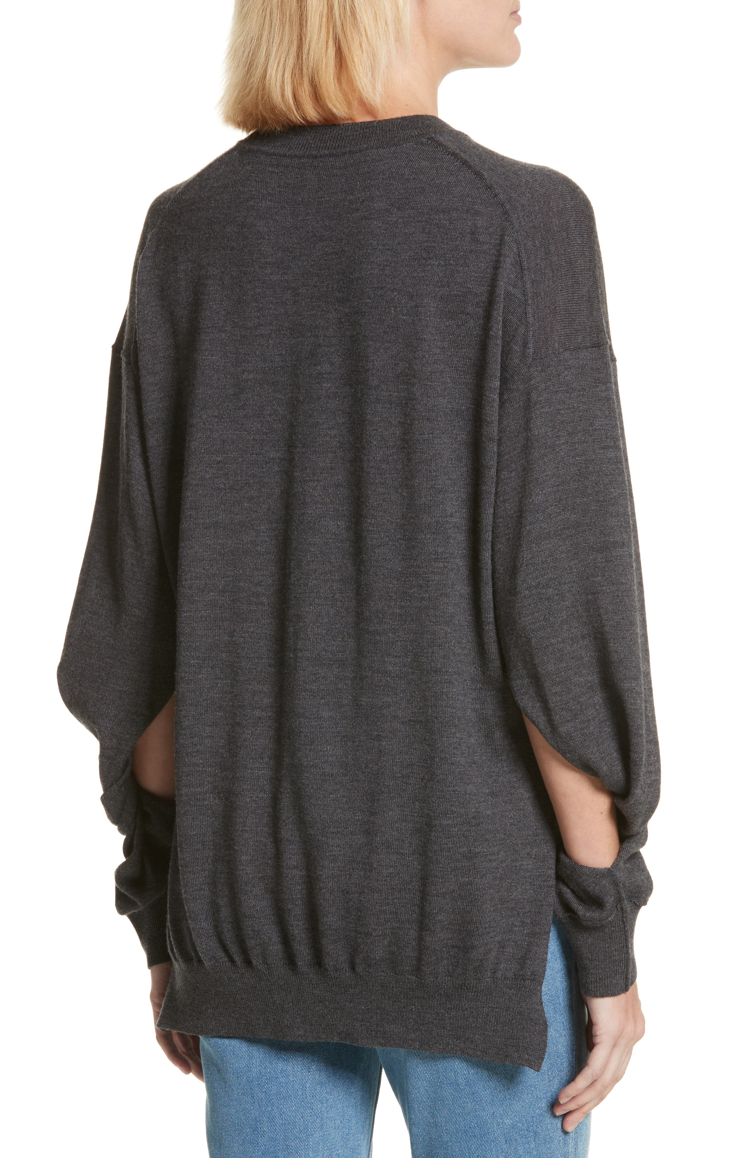 T by Alexander Wang Twisted Sleeve Wool Sweater,                             Alternate thumbnail 2, color,                             060