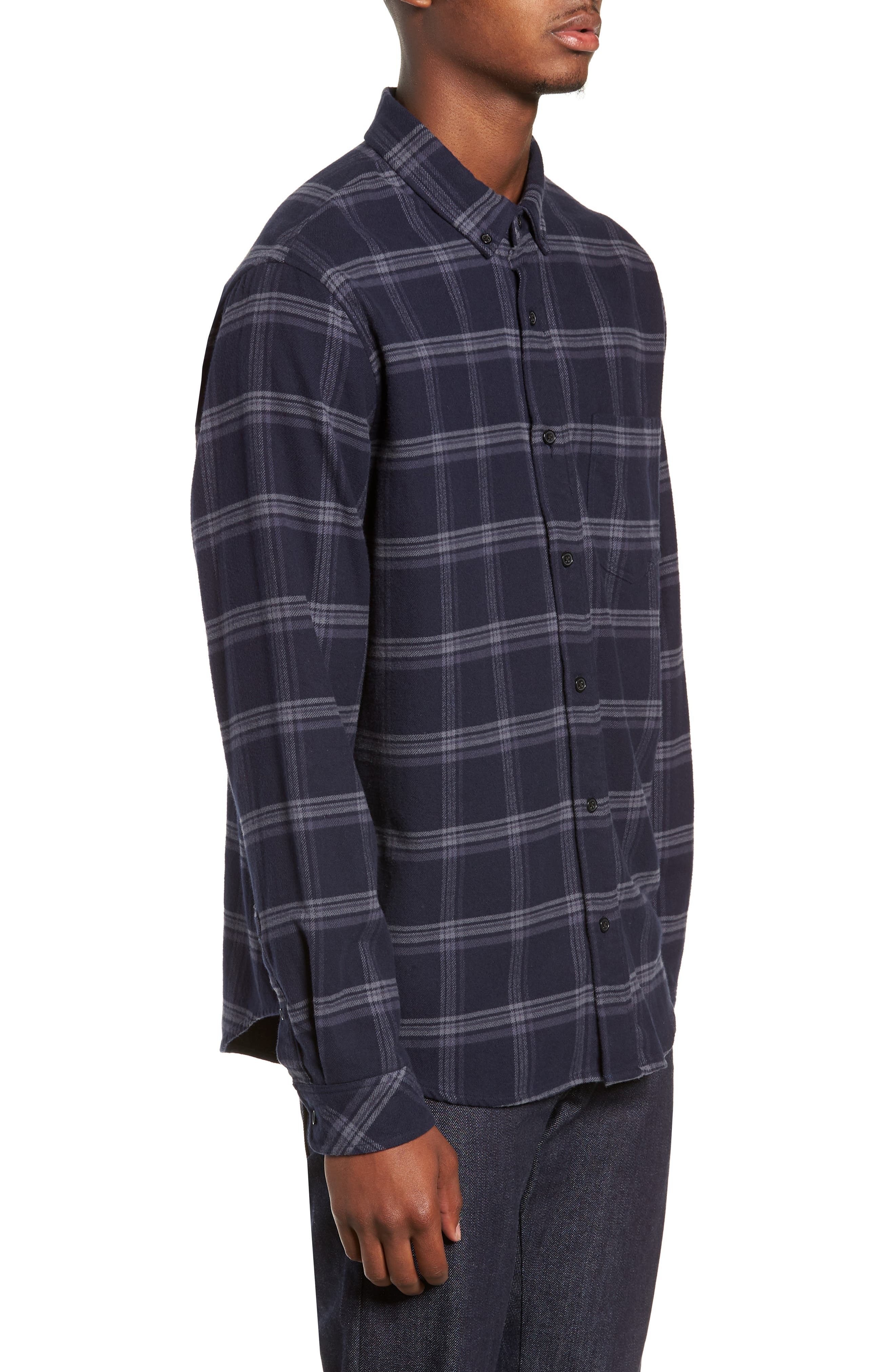 Forrest Slim Fit Plaid Flannel Sport Shirt,                             Alternate thumbnail 4, color,                             NAVY/HEATHERED CHARCOAL