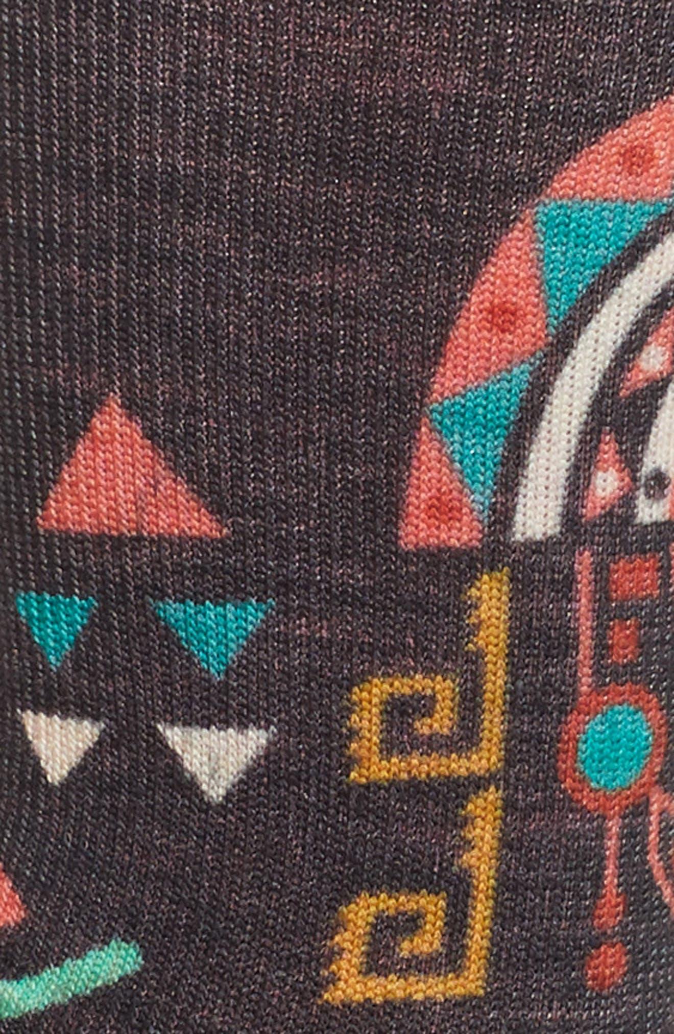 Totem Valley Print Crew Socks,                             Alternate thumbnail 3, color,                             001