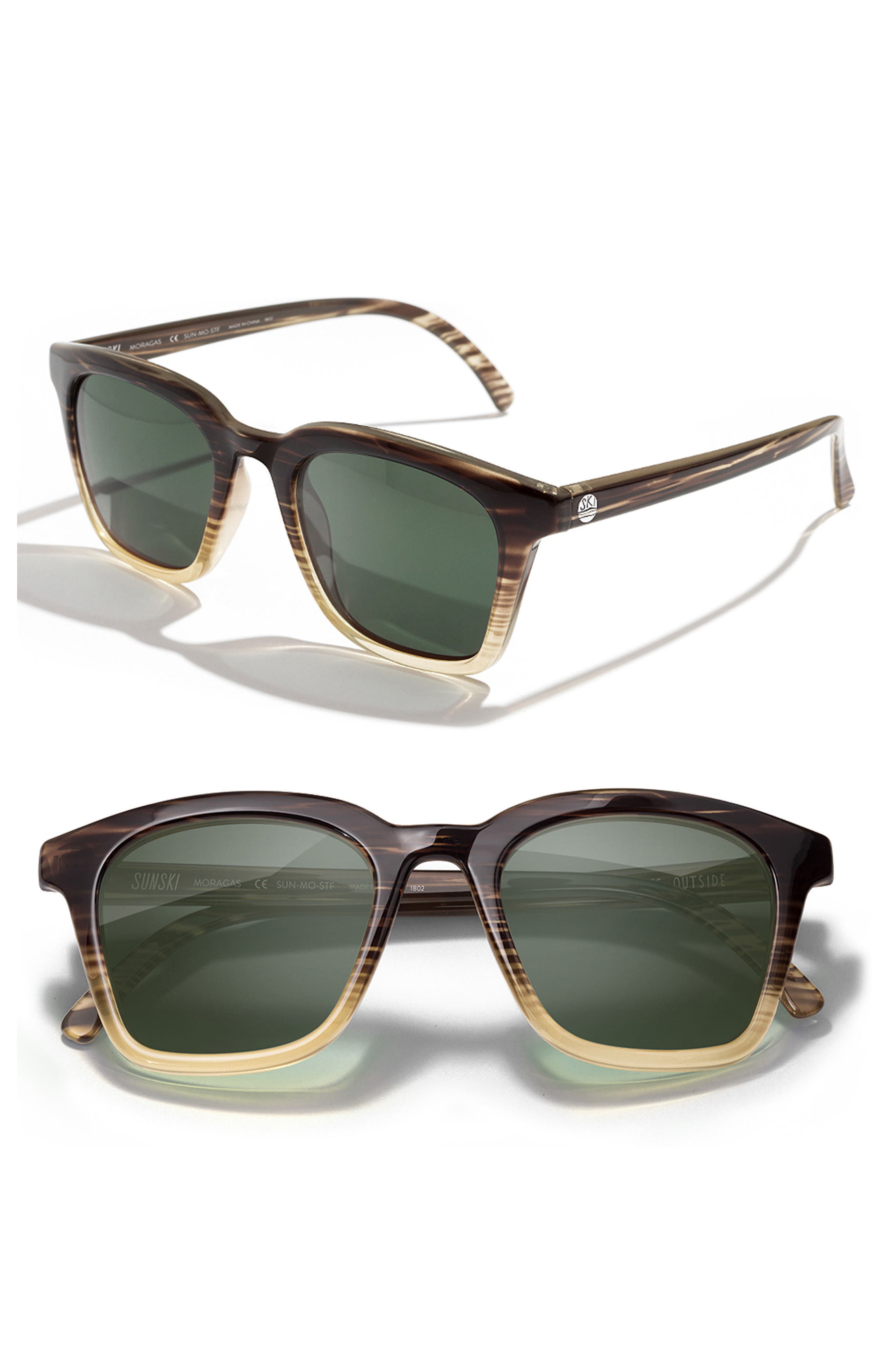Sunski Moraga 47Mm Polarized Sunglasses - Stripe Tortoise Forest