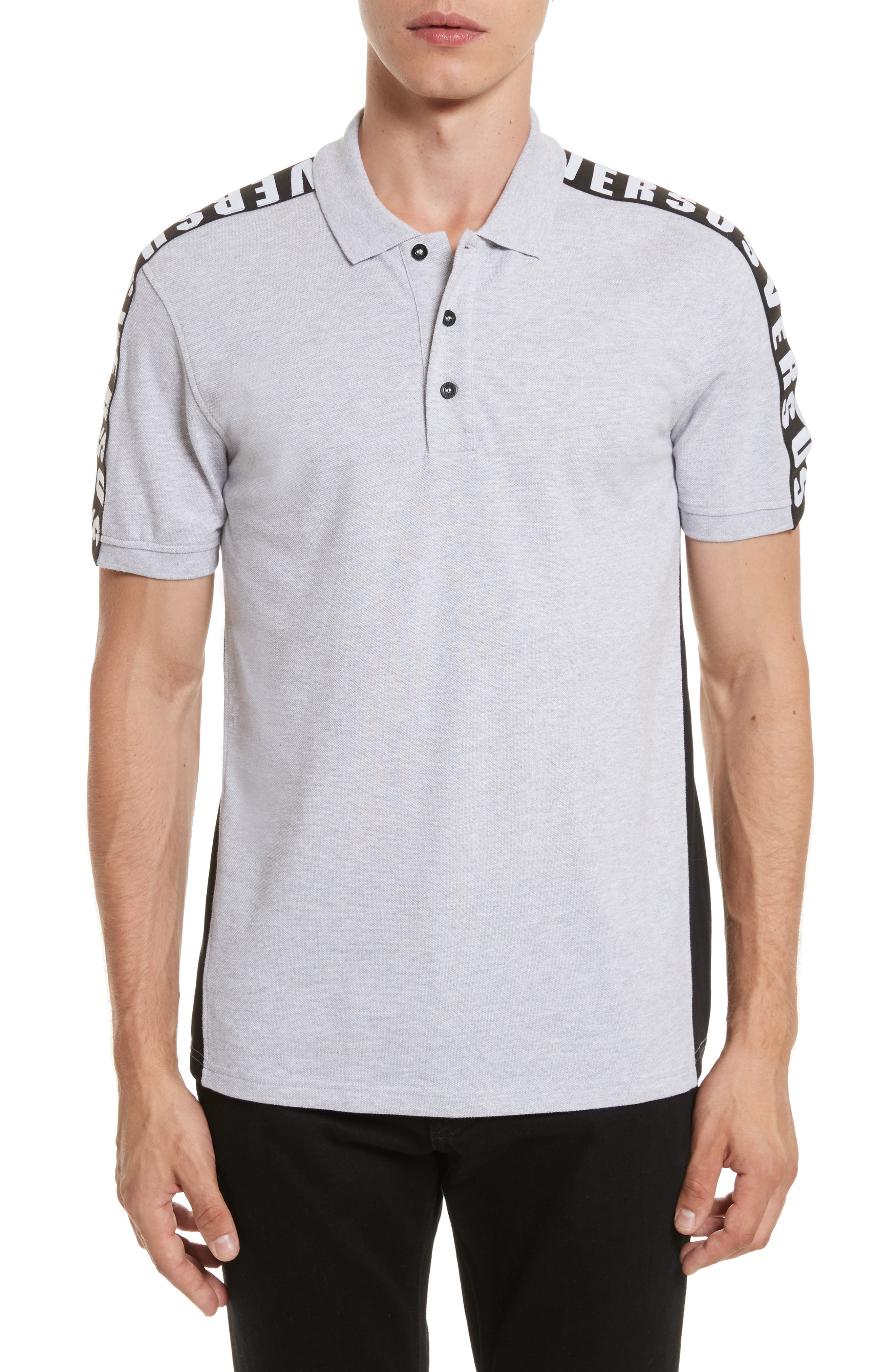 VERSUS by Versace Shoulder Tape Piqué Polo,                         Main,                         color, 017