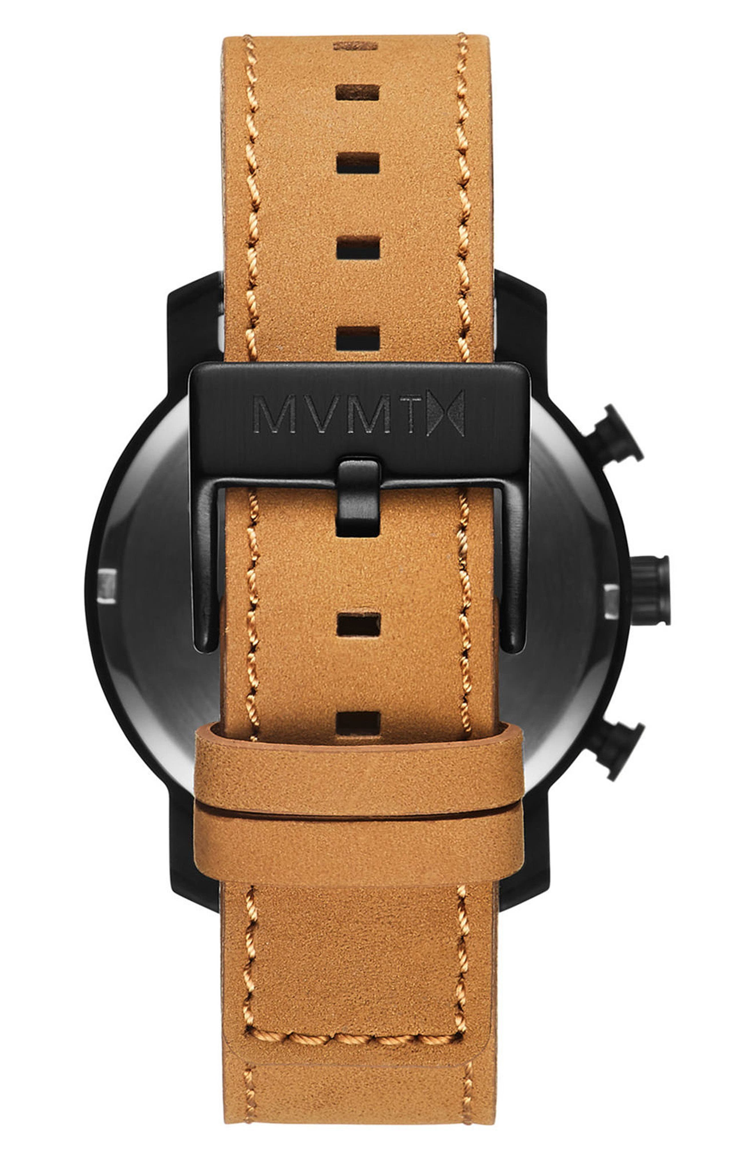 Chrono Chronograph Leather Strap Watch, 40mm,                             Alternate thumbnail 2, color,                             WHITE/ TAN