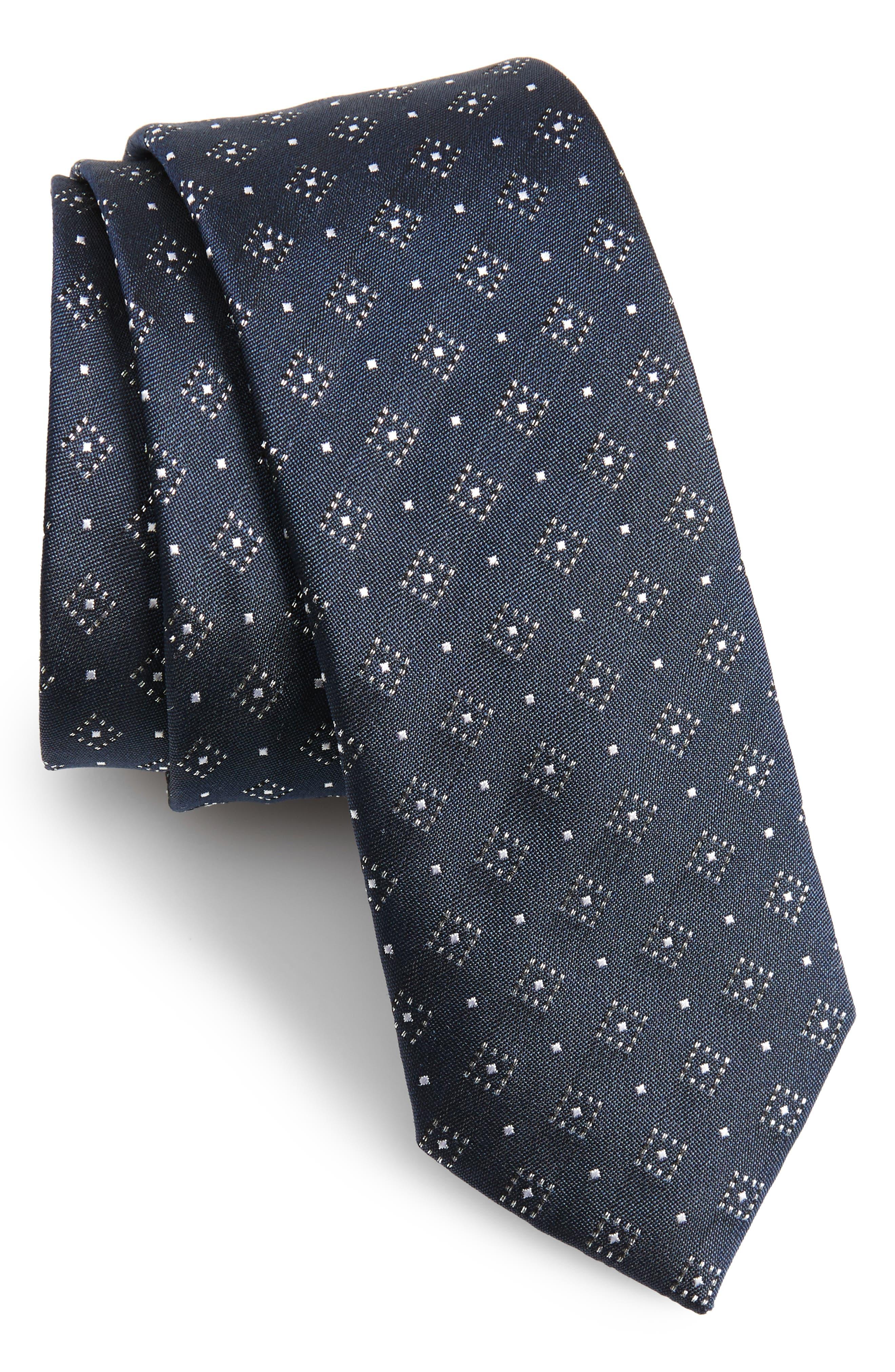 Gemstone Gala Silk Skinny Tie,                             Main thumbnail 1, color,                             NAVY