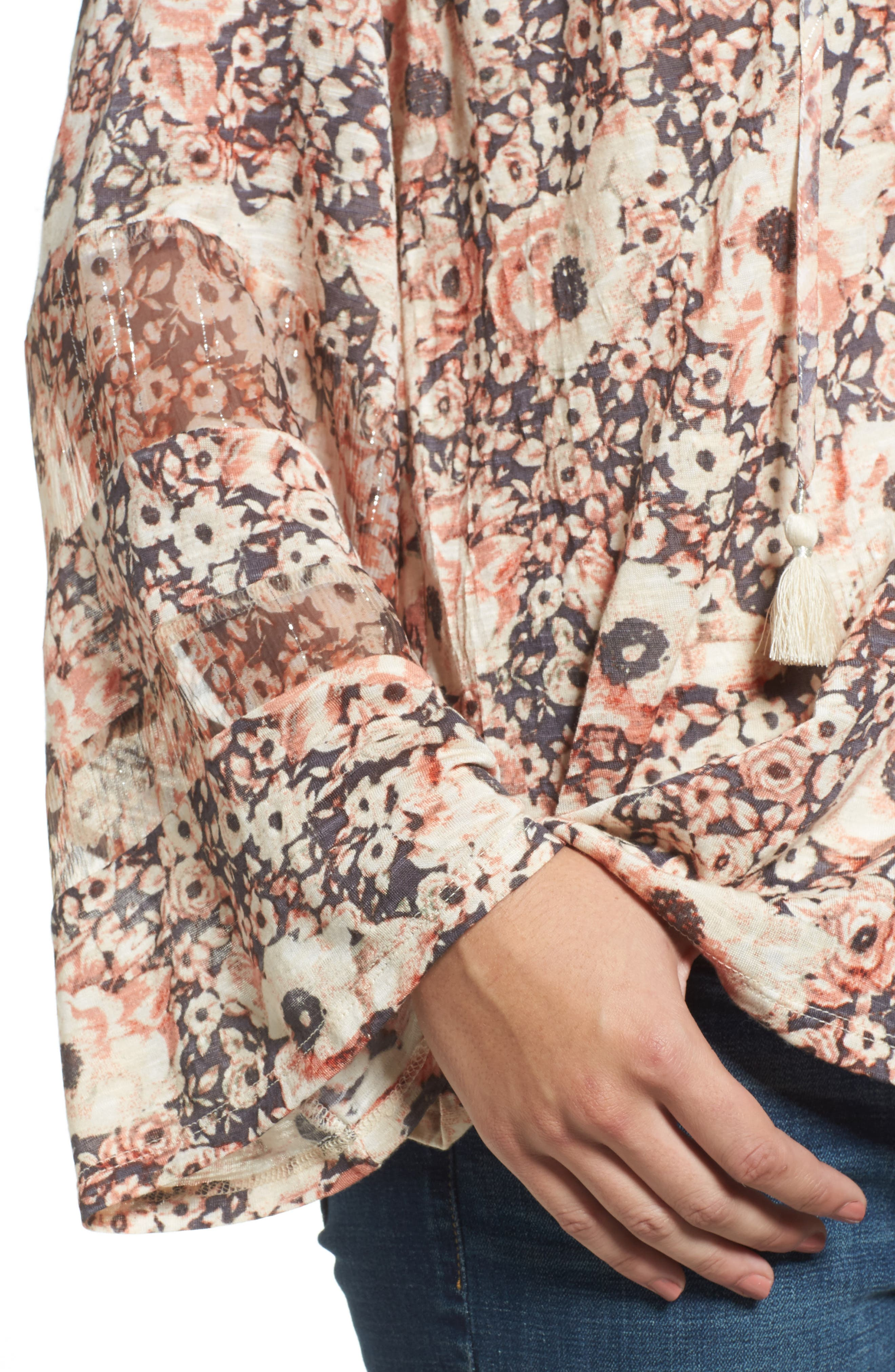 Bell Sleeve Floral Mixed Media Top,                             Alternate thumbnail 4, color,                             650