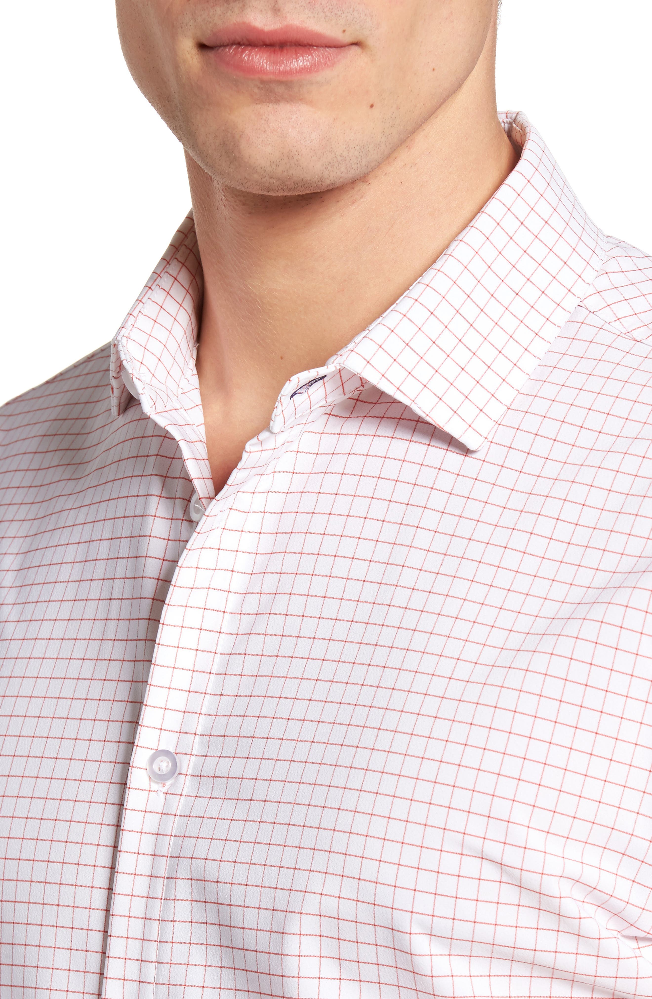 York Slim Fit Tattersall Performance Sport Shirt,                             Alternate thumbnail 4, color,                             600