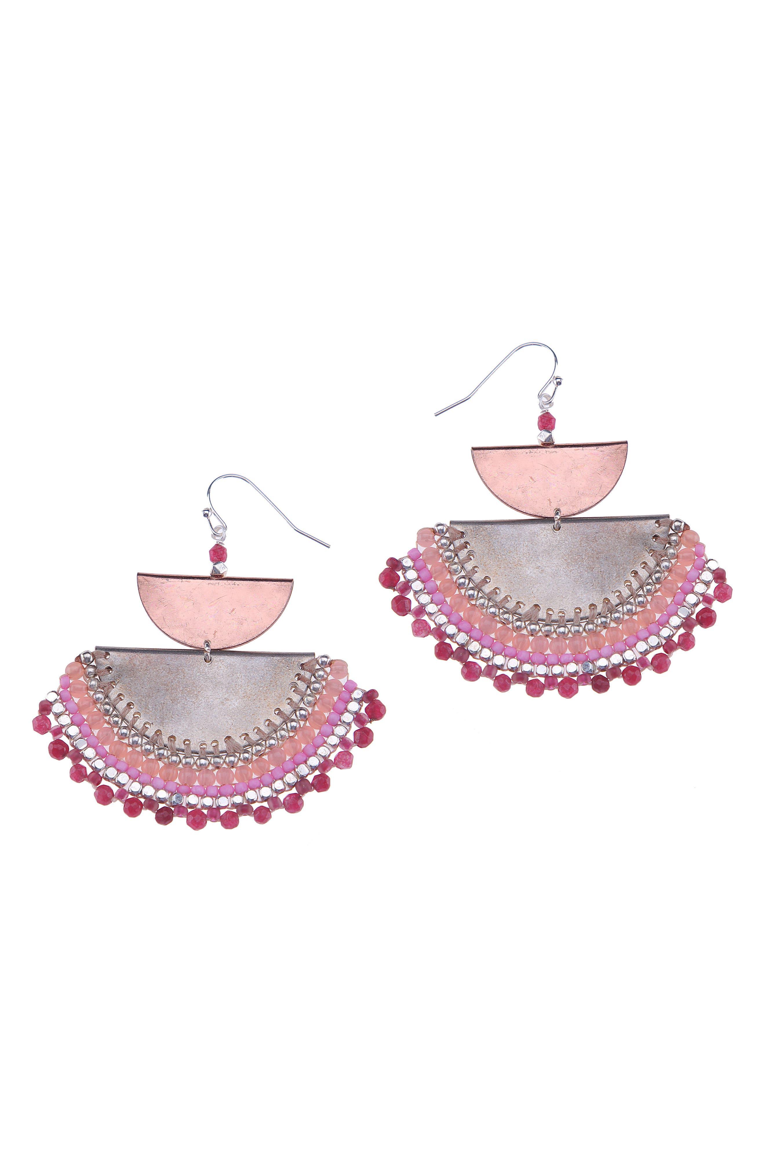 Agate Beaded Half Moon Drop Earrings,                         Main,                         color,