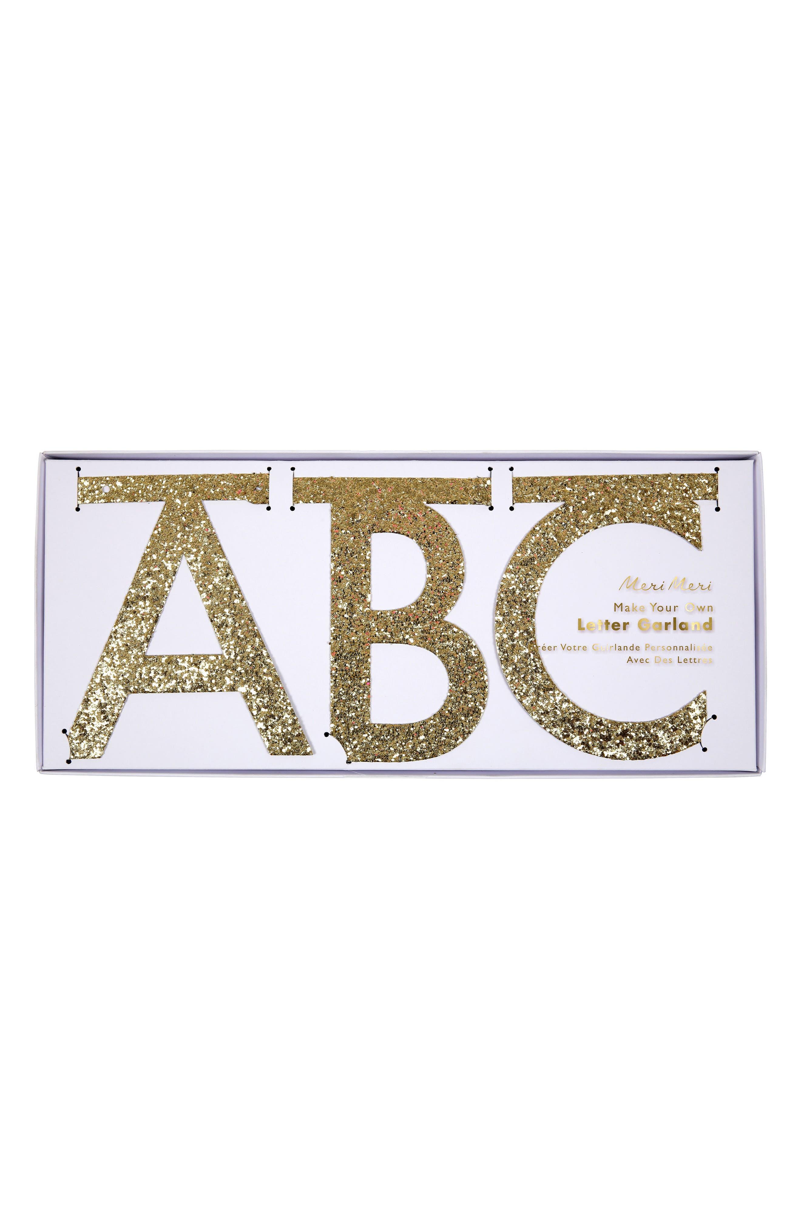 Glitter Letter Garland Kit,                             Alternate thumbnail 2, color,                             GOLD