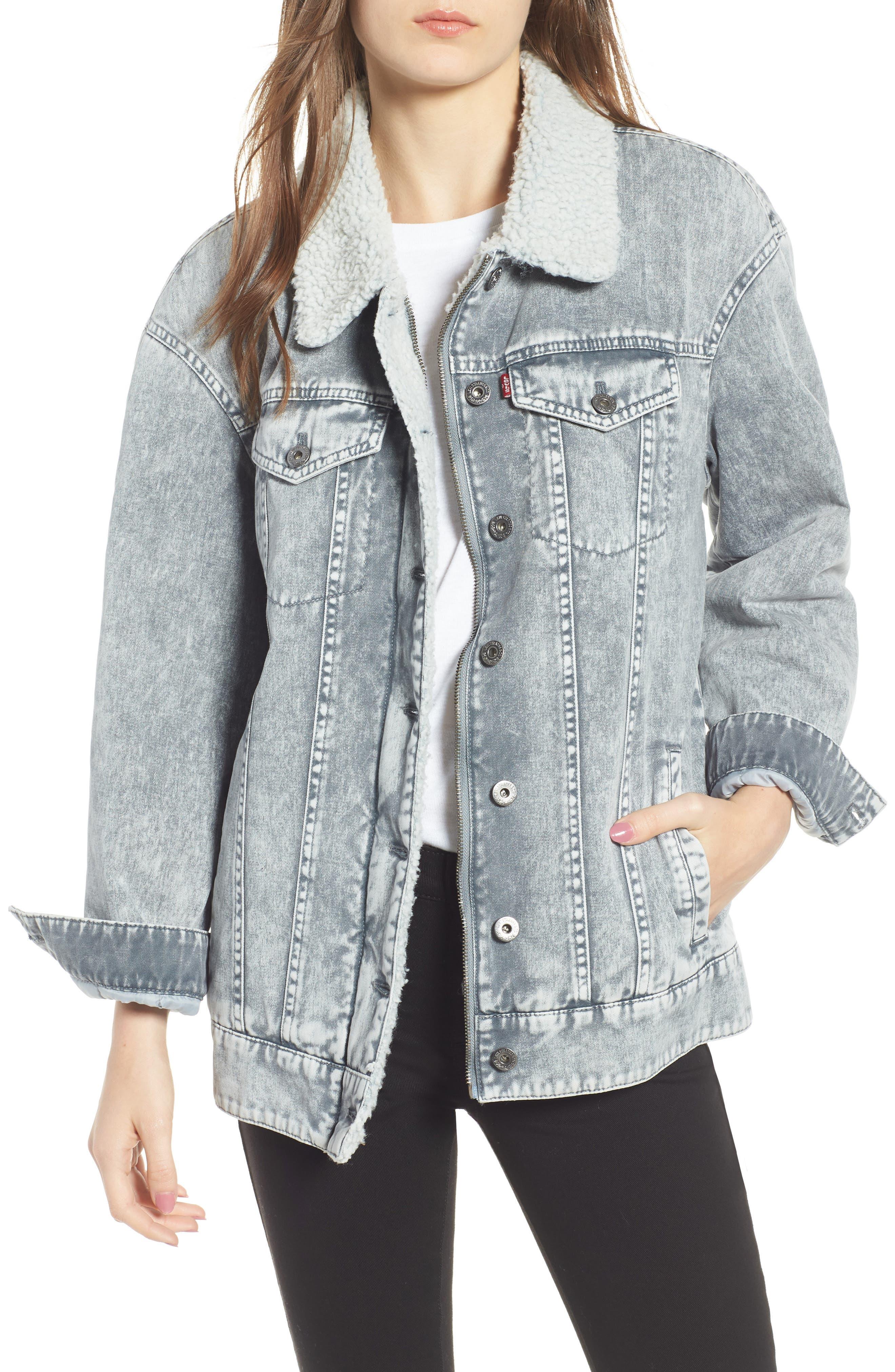 Levi's<sup>®</sup> Oversize Denim Trucker Jacket,                             Main thumbnail 1, color,                             GREY