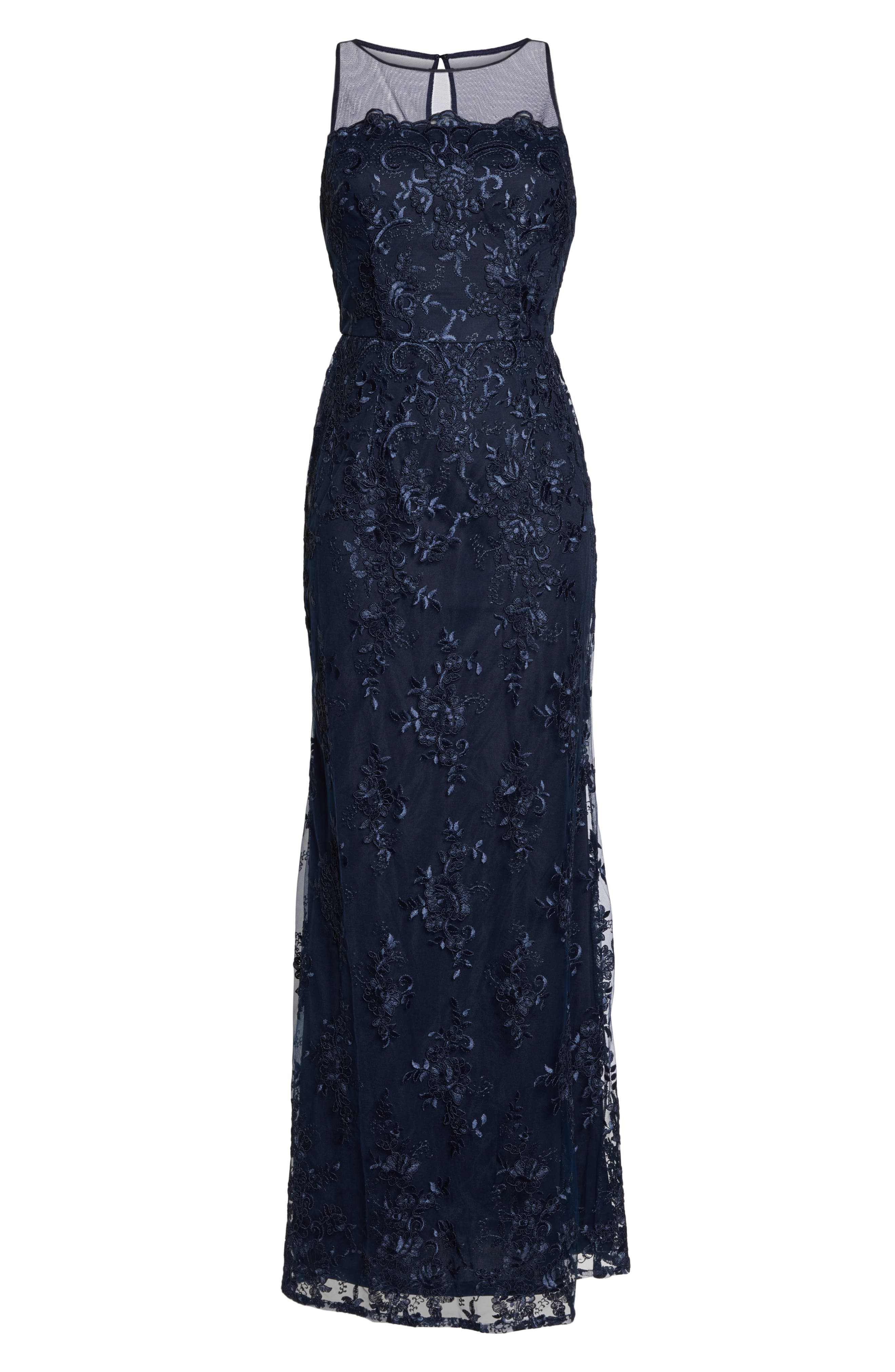 ADRIANNA PAPELL,                             Corded Lace Evening Dress,                             Alternate thumbnail 7, color,                             MIDNIGHT