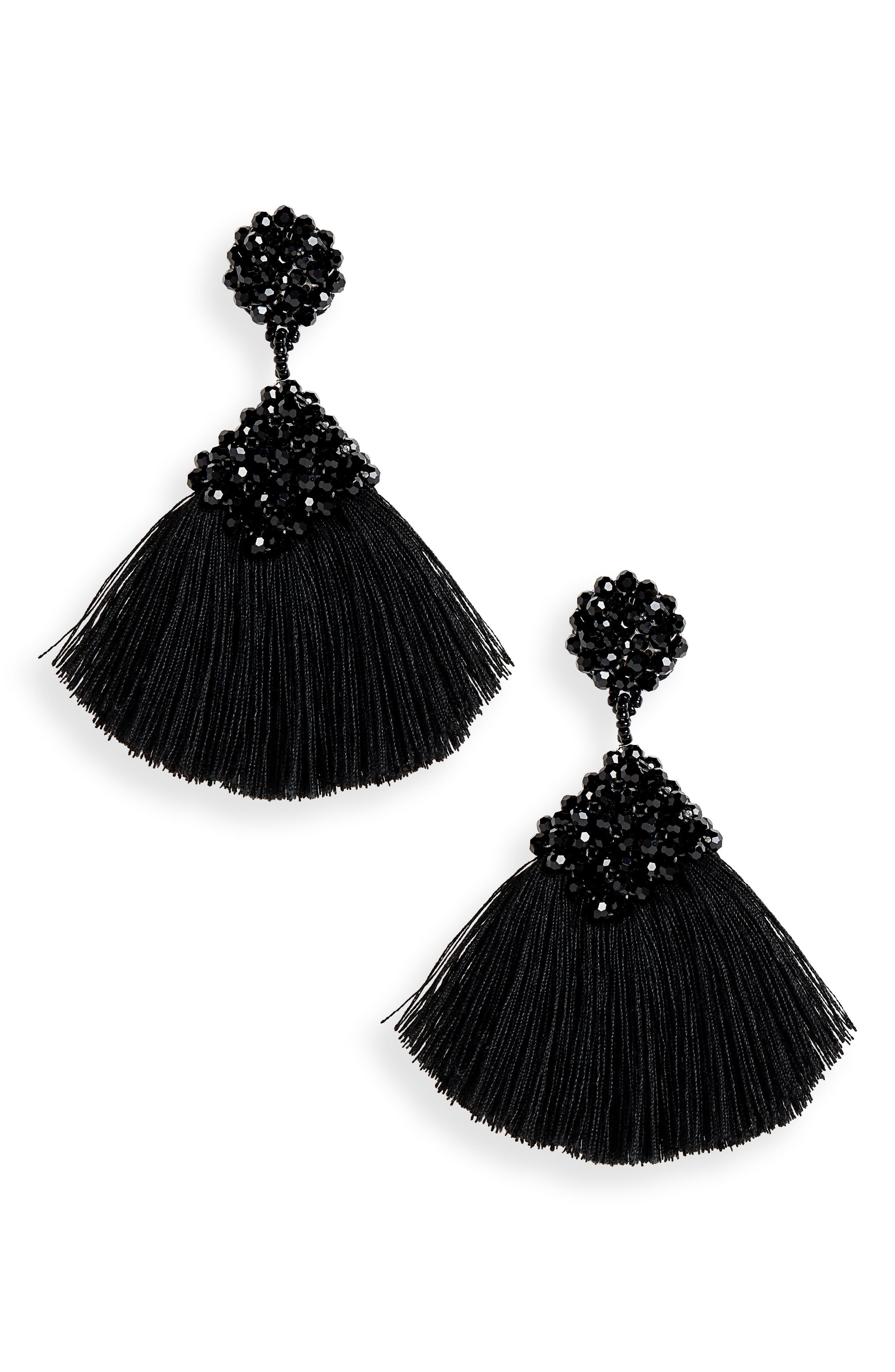 PANACEA Beaded Tassel Earrings in Black
