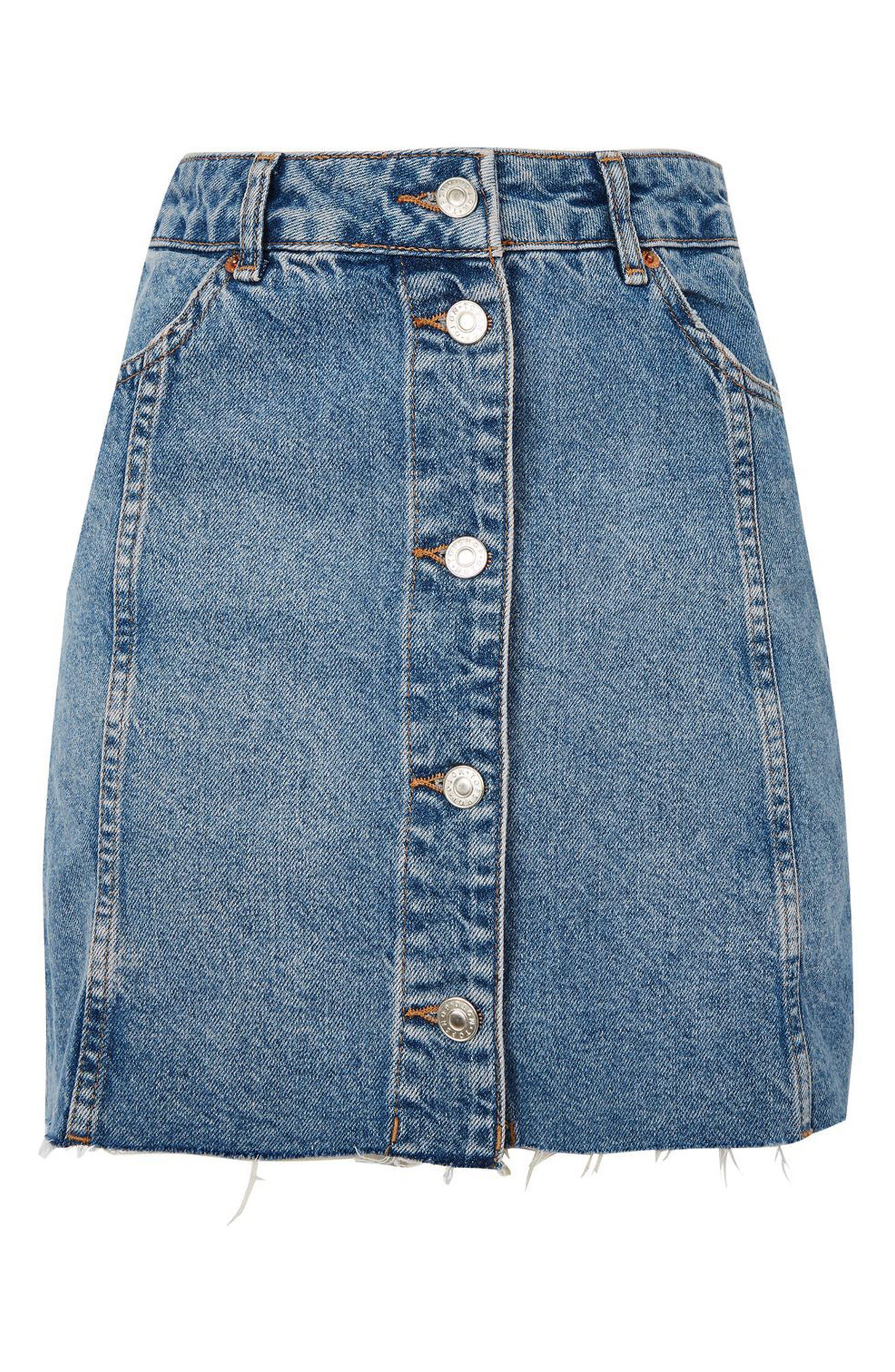 Button Denim Miniskirt,                             Alternate thumbnail 3, color,