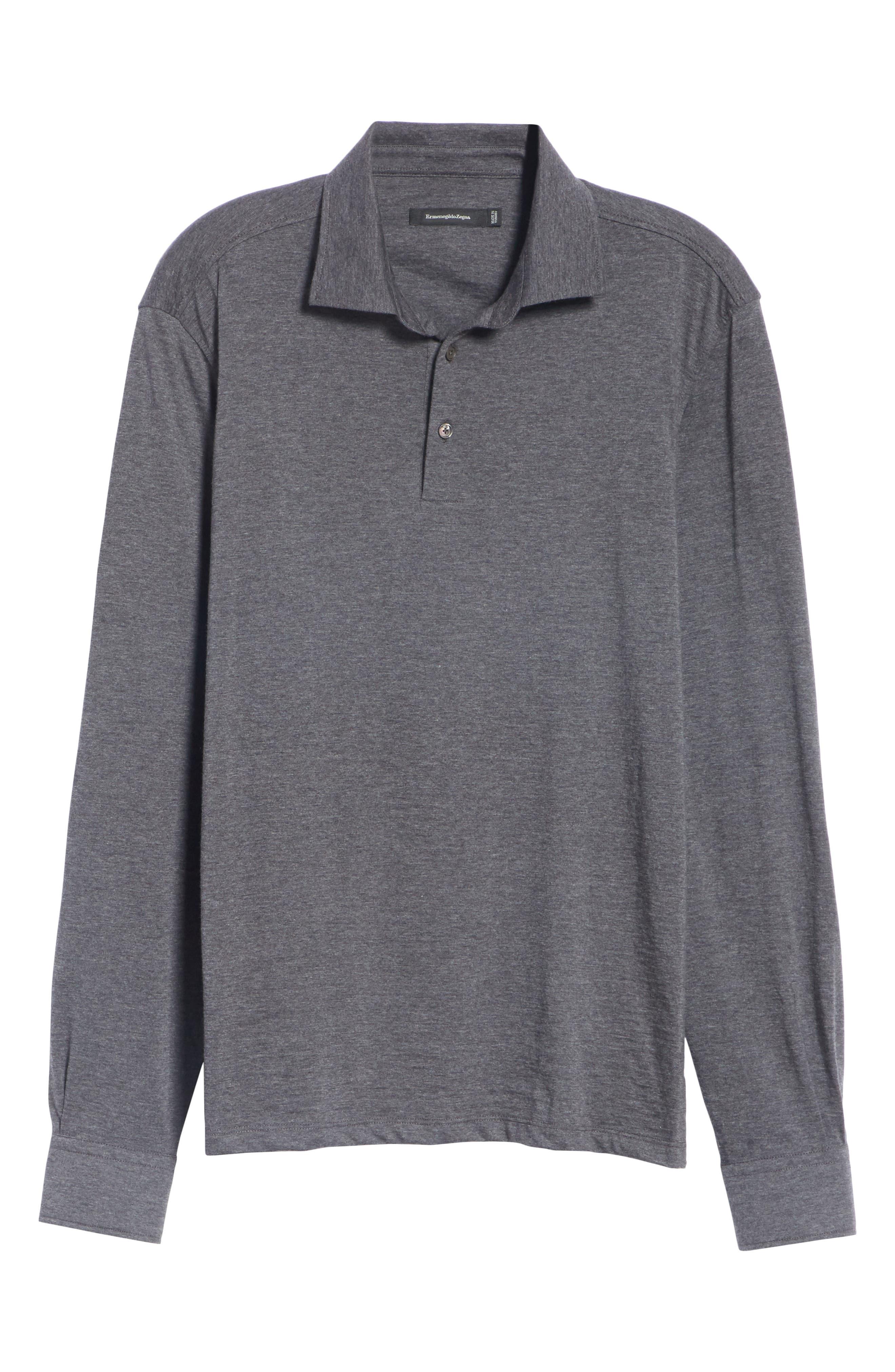 Wool & Cotton Long Sleeve Polo Shirt,                             Alternate thumbnail 6, color,                             CHARCOAL